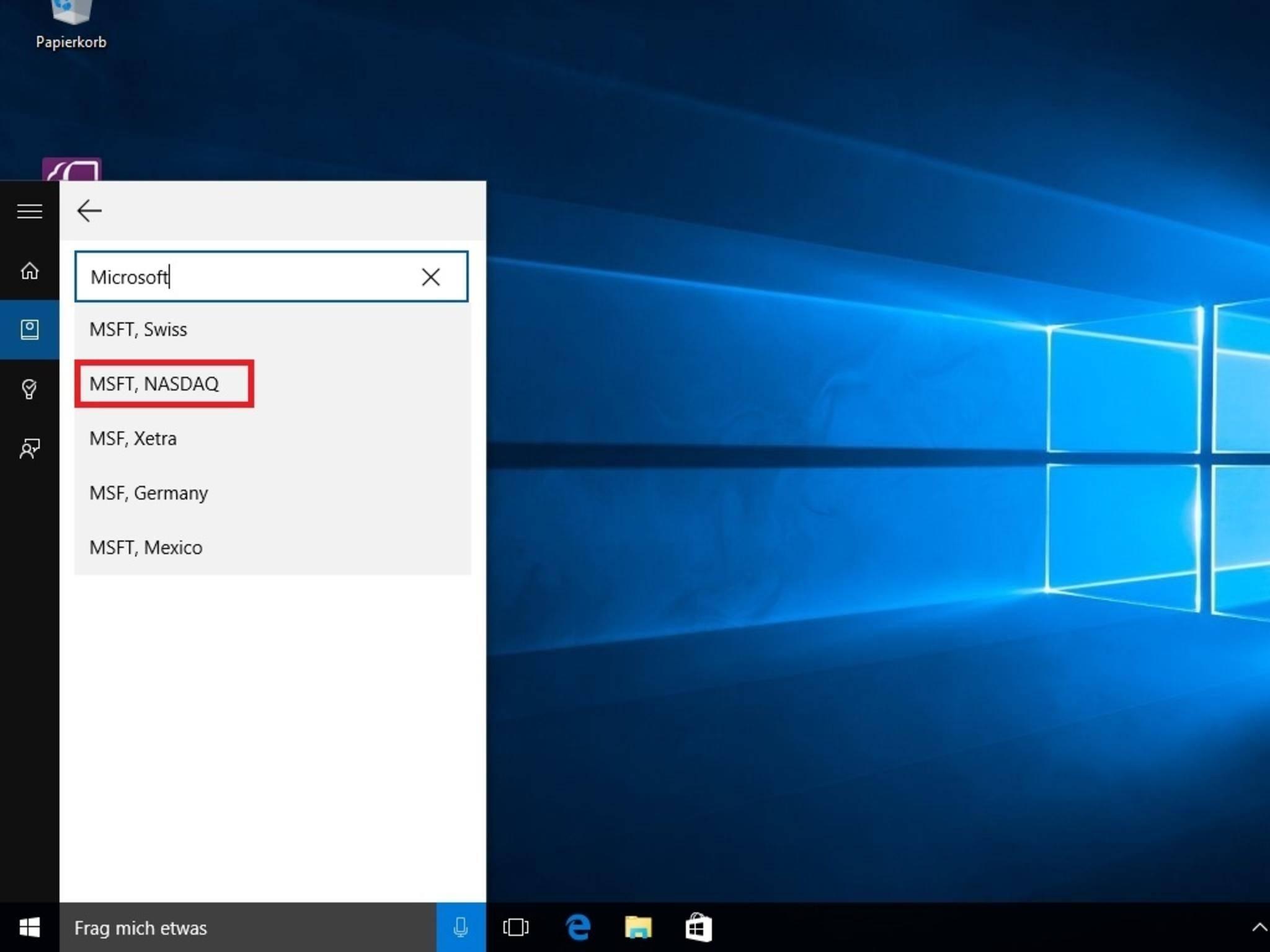 Auch Aktienkurse kannst Du mit Cortana im Blick behalten.