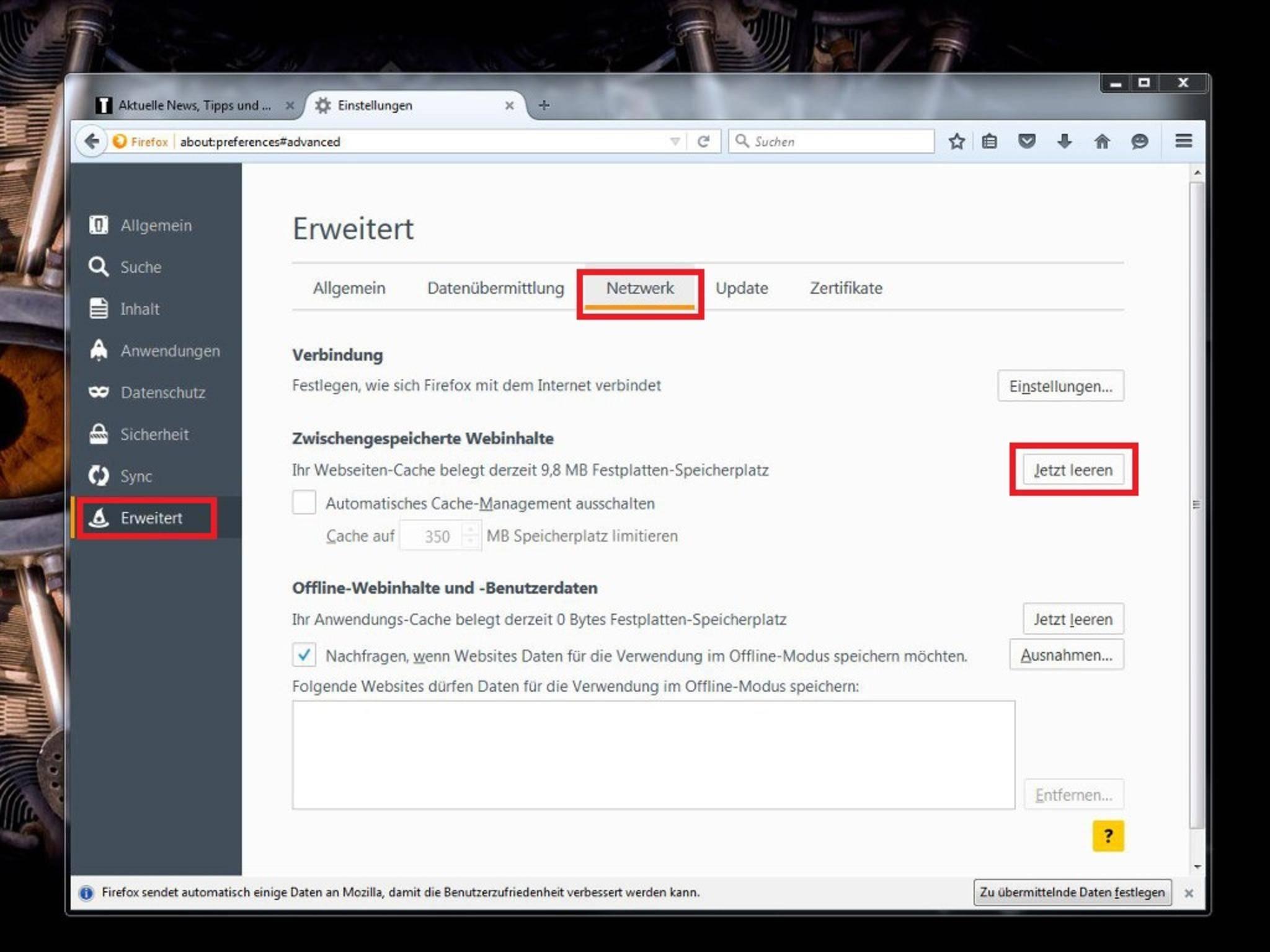 Firefox: So kannst Du Cache, Verlauf & Cookies löschen