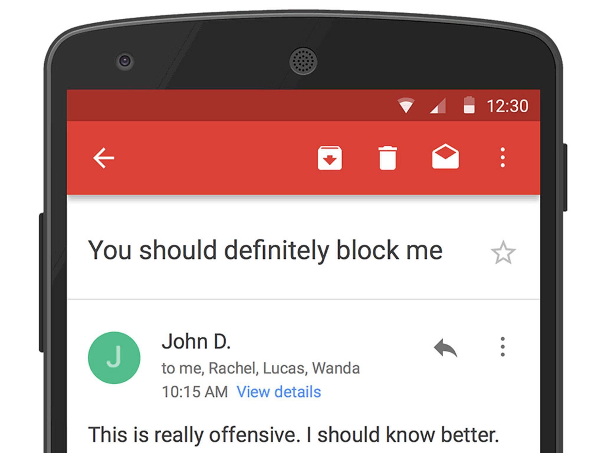 Gmail erlaubt jetzt das einfache Blockieren von Absendern