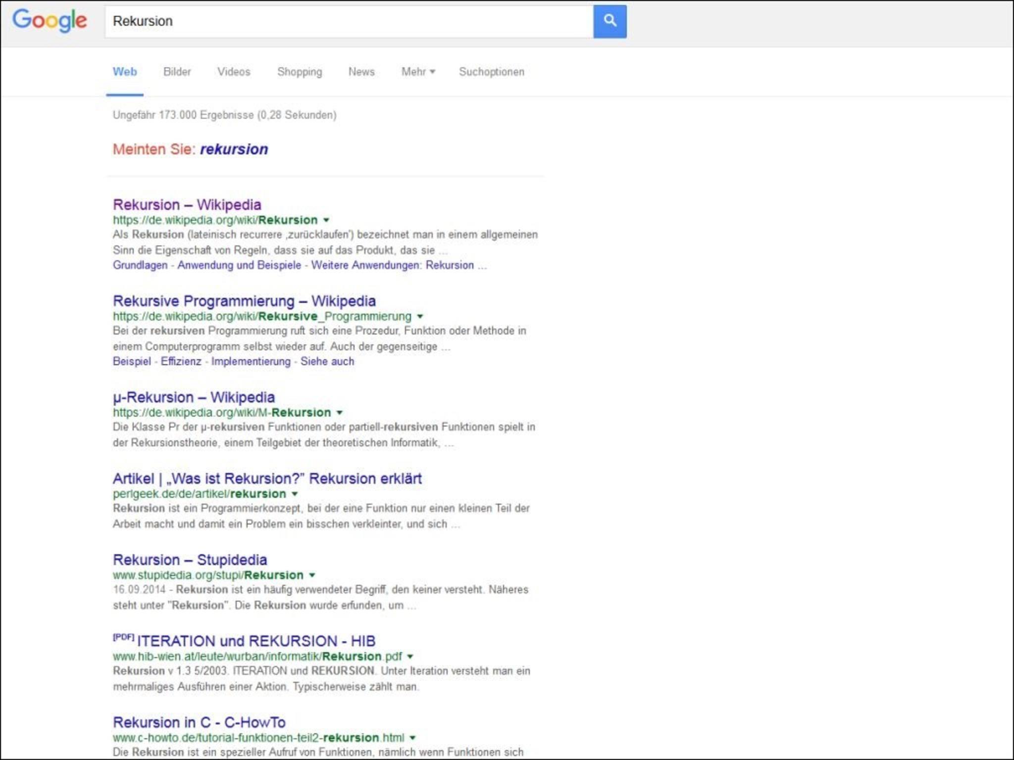 """Google erklärt """"Rekursion"""" und """"Anagramm"""" mal anders."""