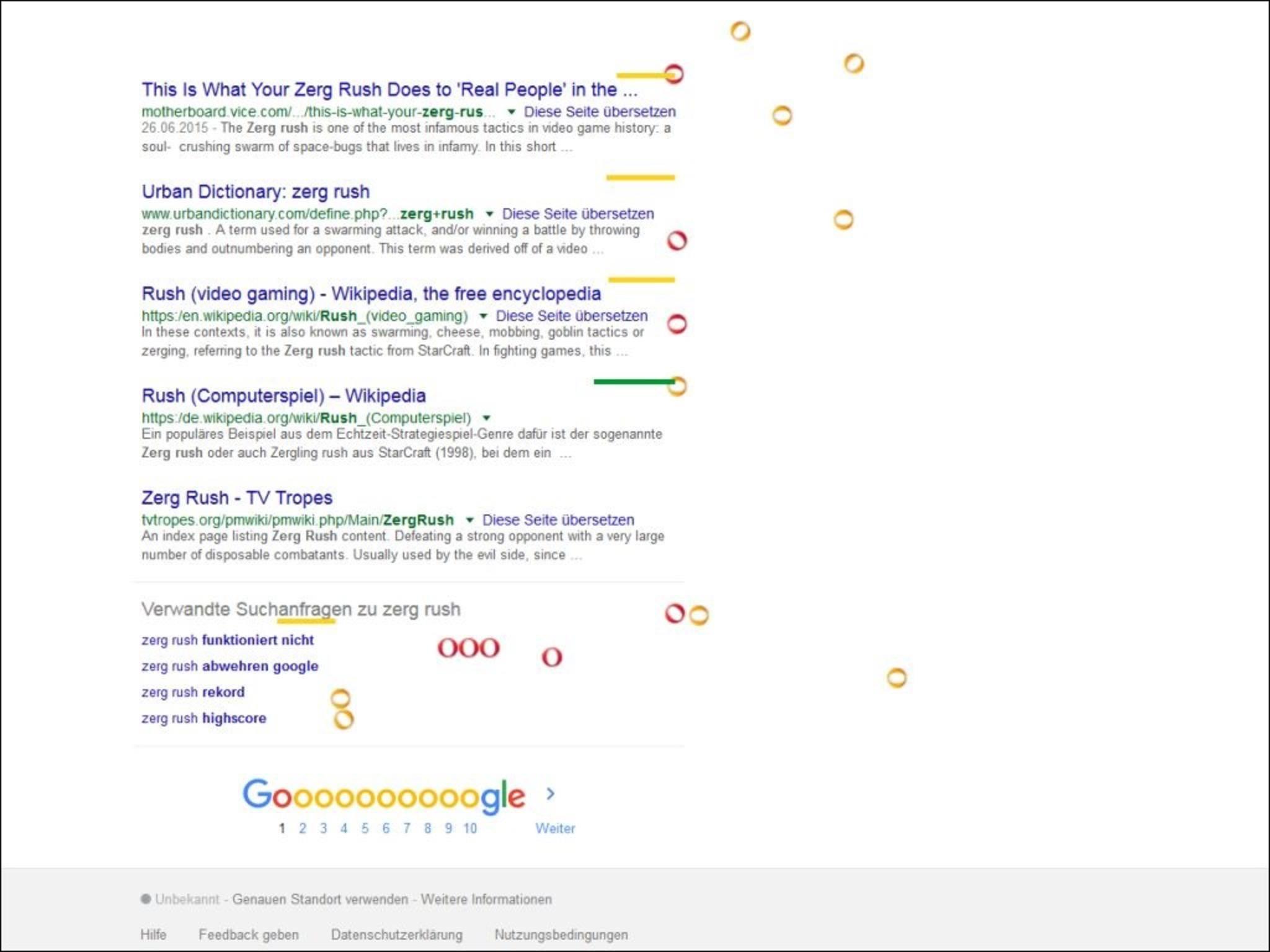 """Mit """"Zerg Rush"""" spielt Google auf eine """"Starcraft""""-Taktik an."""