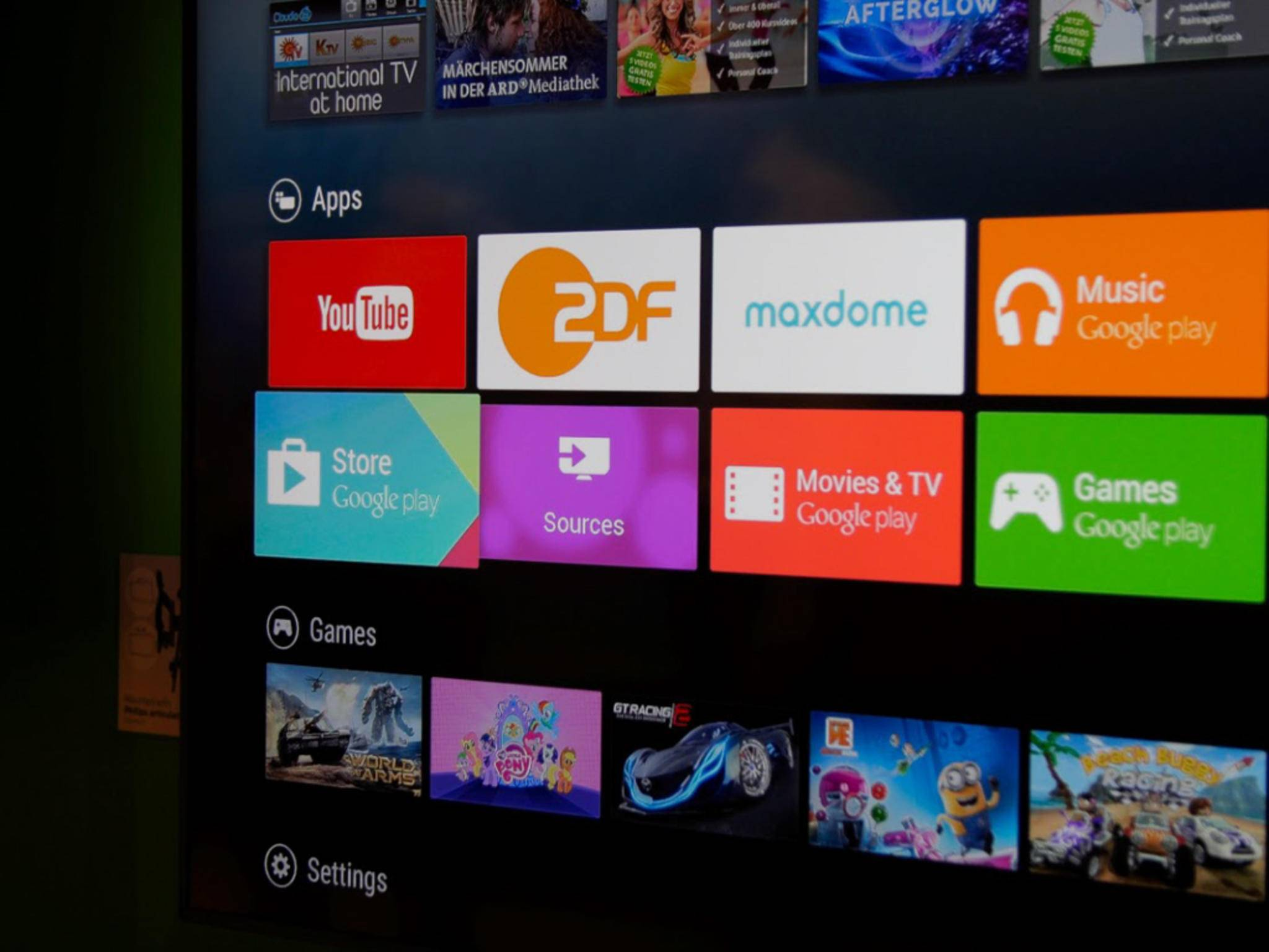 Die Benutzerobefläche von Android TV bei Philips.