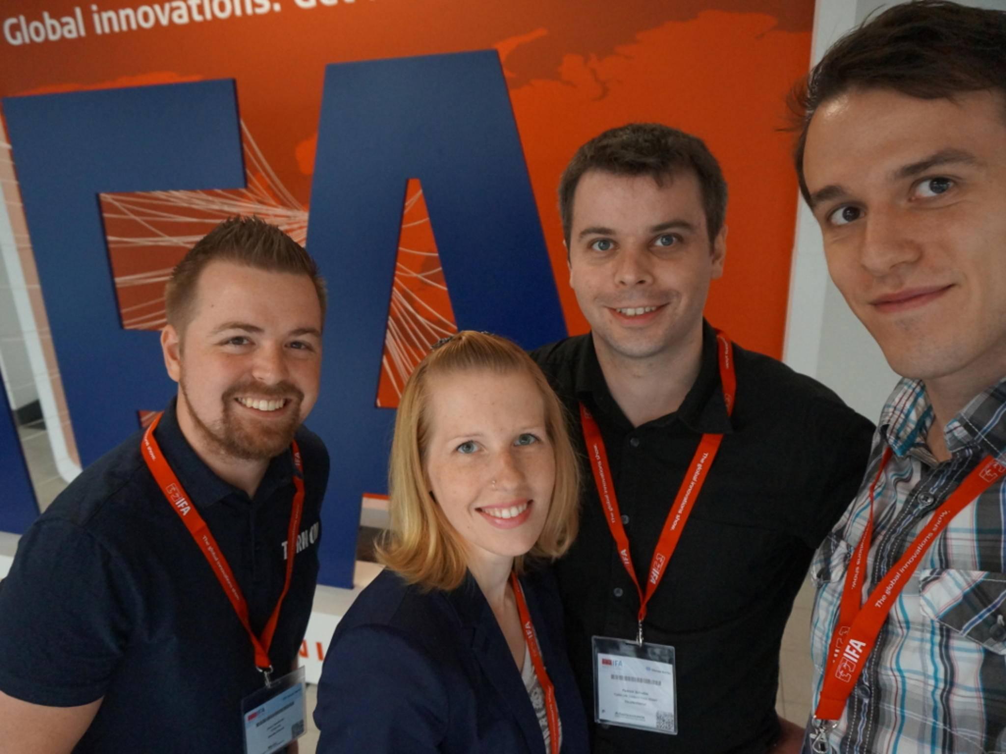 Das TURN ON-Team auf der IFA: Jens, Franzi, Patrick und Christian.