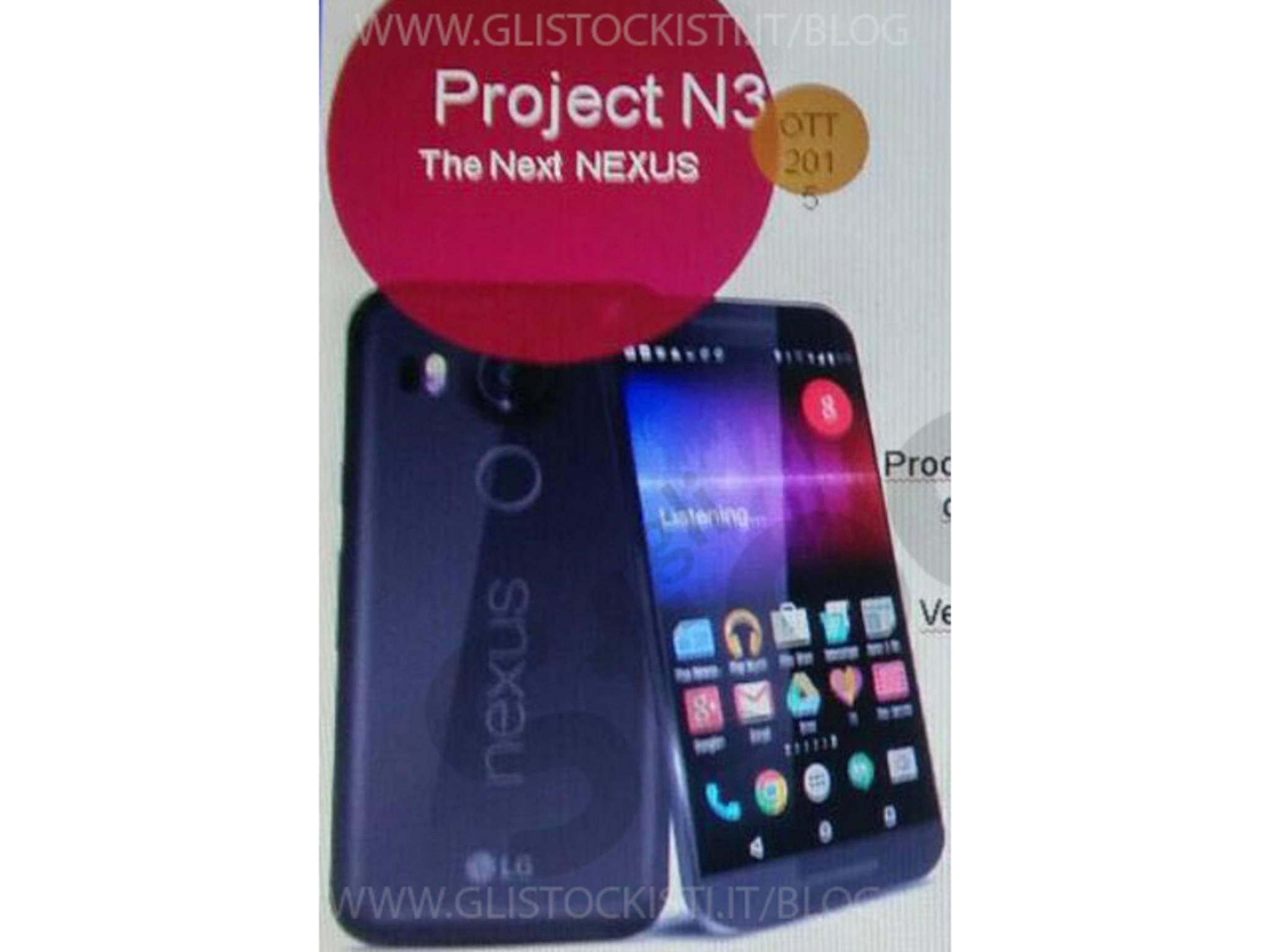 Eine angeblich echte interne Präsentation des LG Nexus 5 (2015).