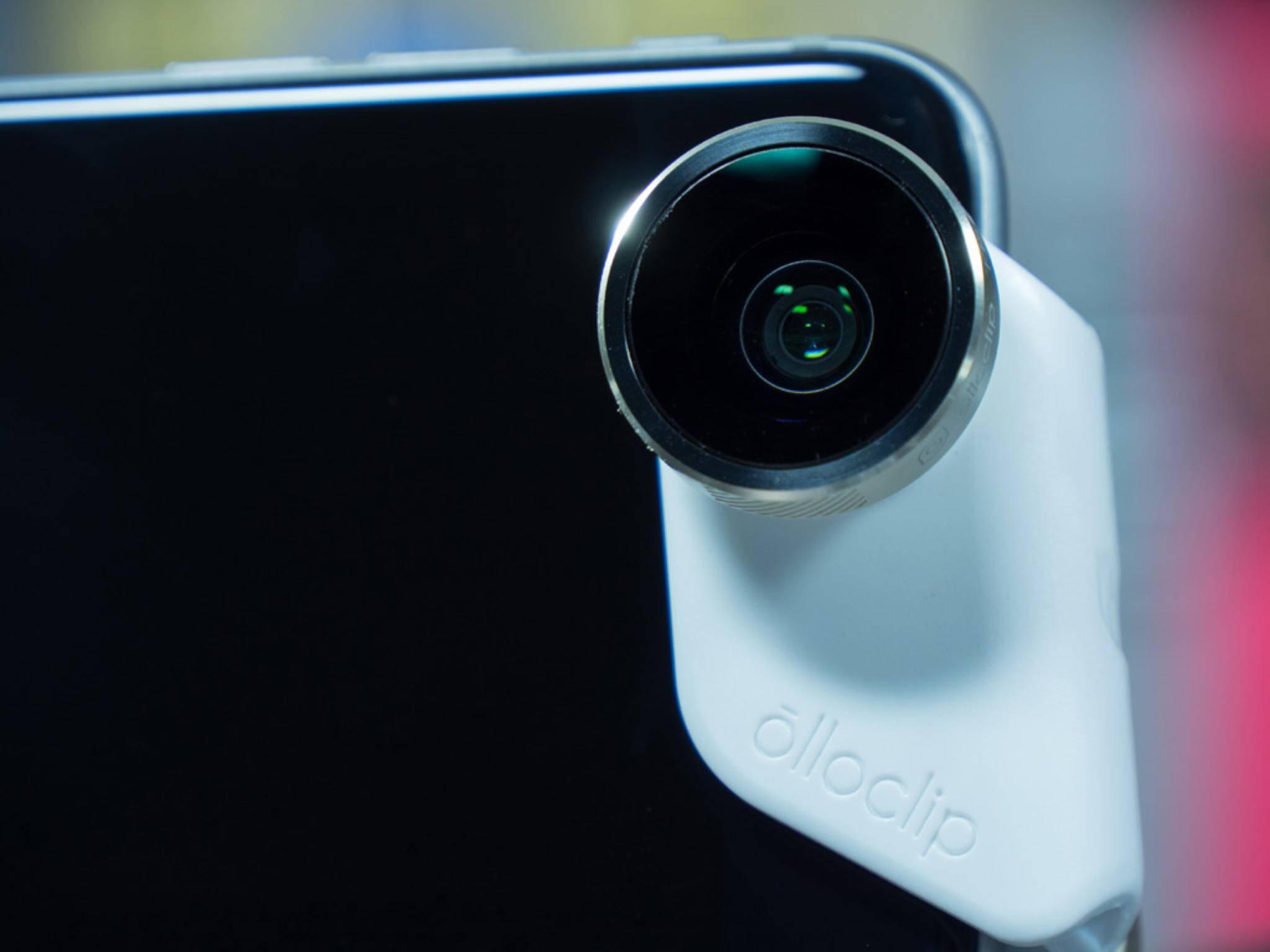 Der Olloclip arbeitet auch mit der Selfiecam zusammen.