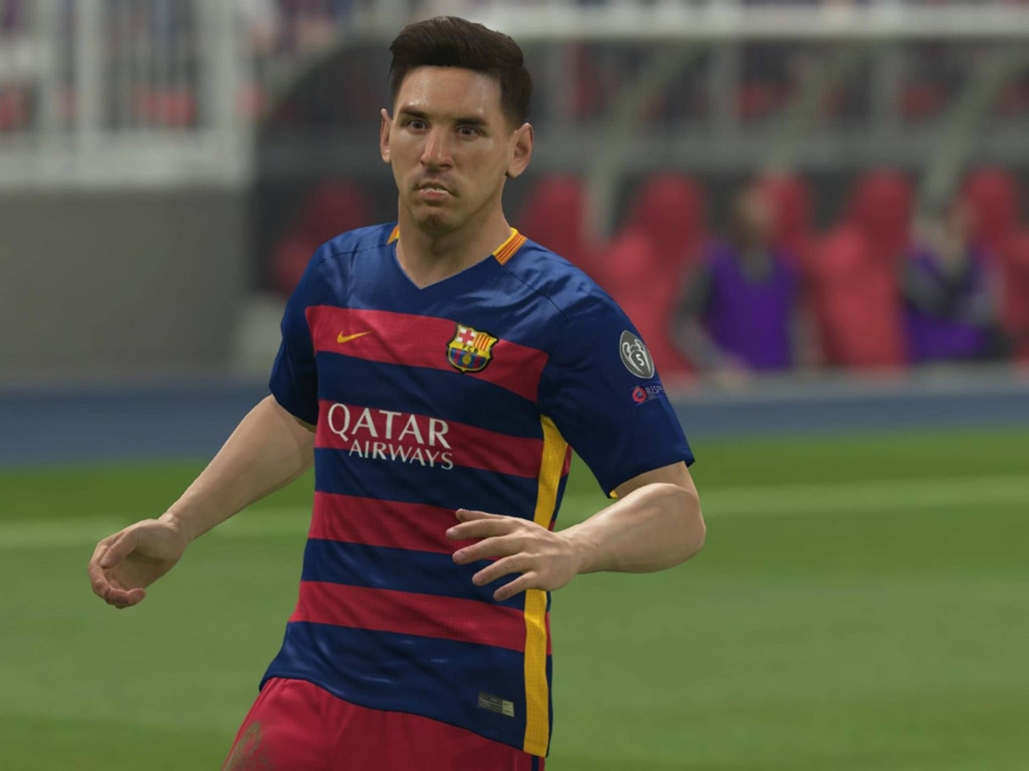 "Superstar Lionel Messi: In ""PES 2016"" ohne Tattoo."