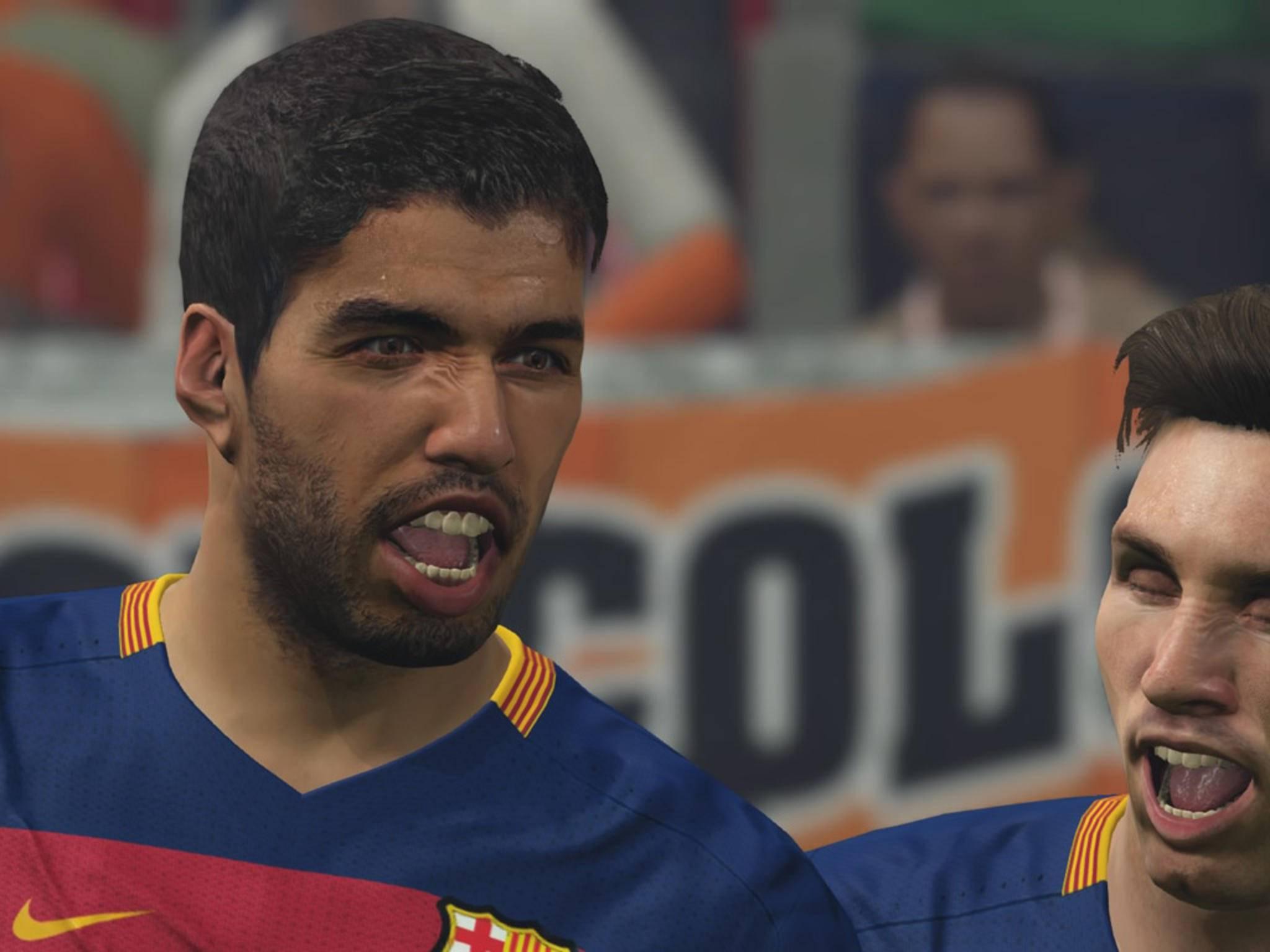 Die Mimik von Suárez.