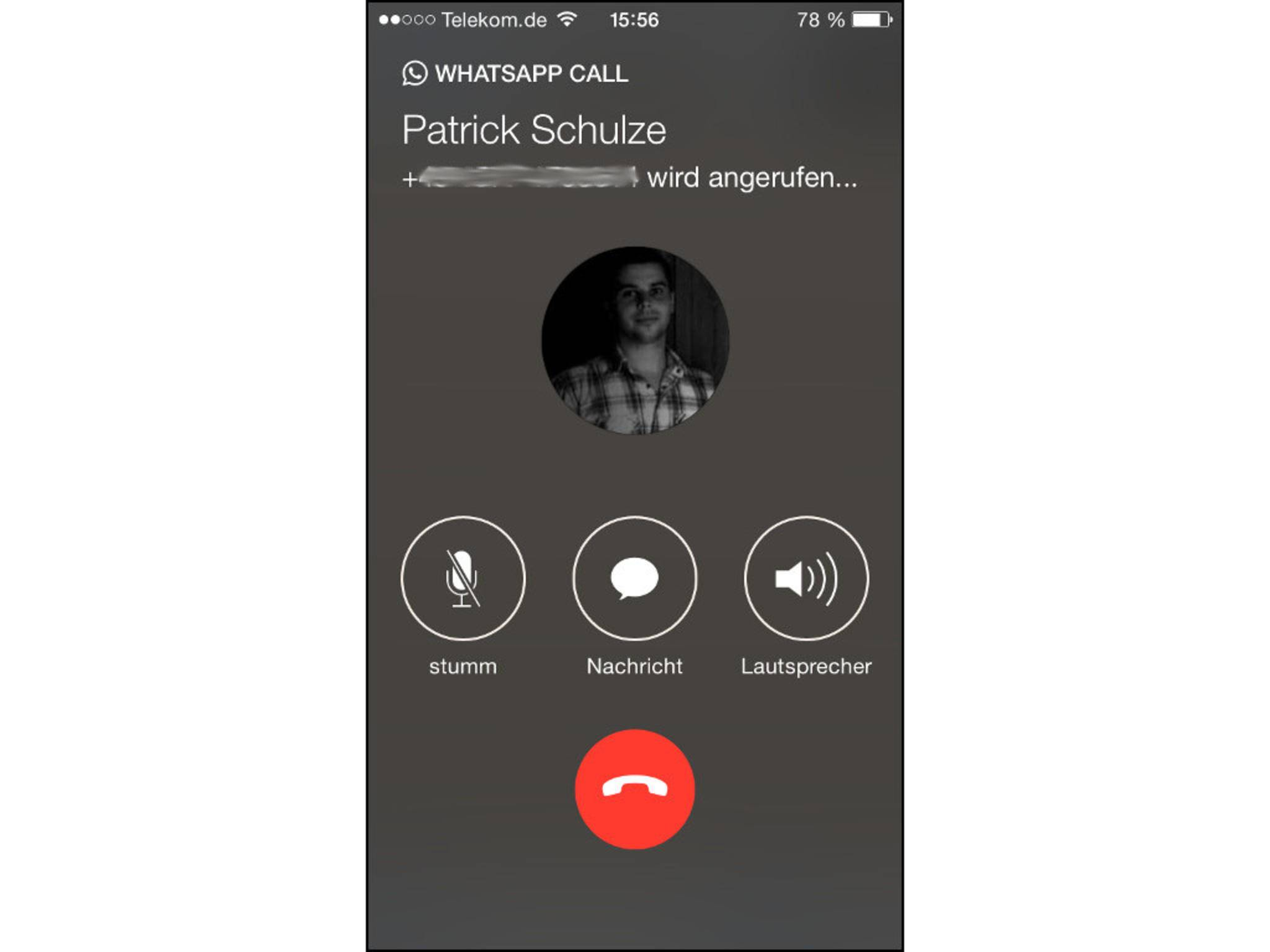 Das Anrufen klappt ganz einfach aus der App heraus.