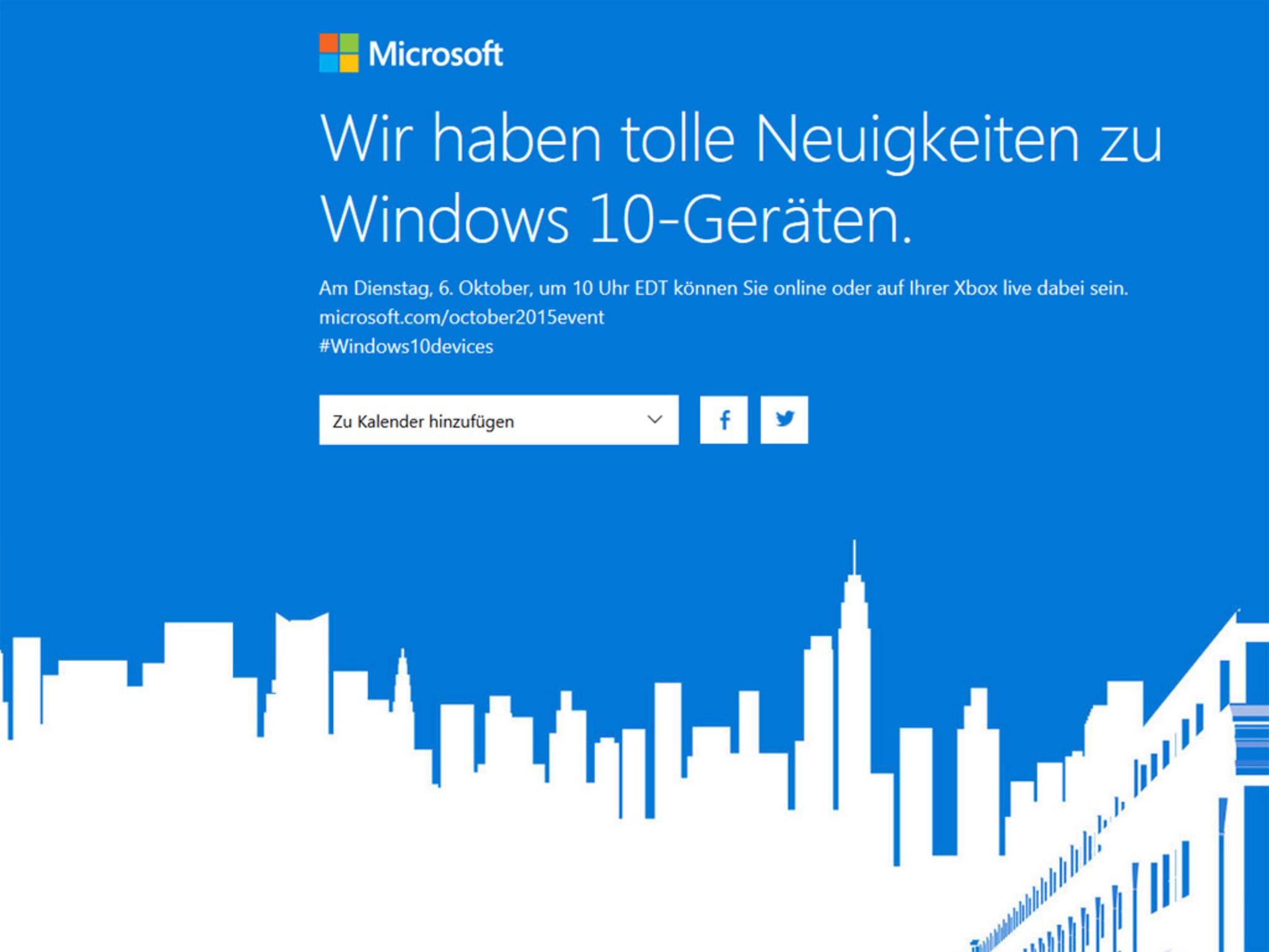 Am 6. Oktober enthüllt Microsoft das Lumia 950 und das Lumia 950 XL.