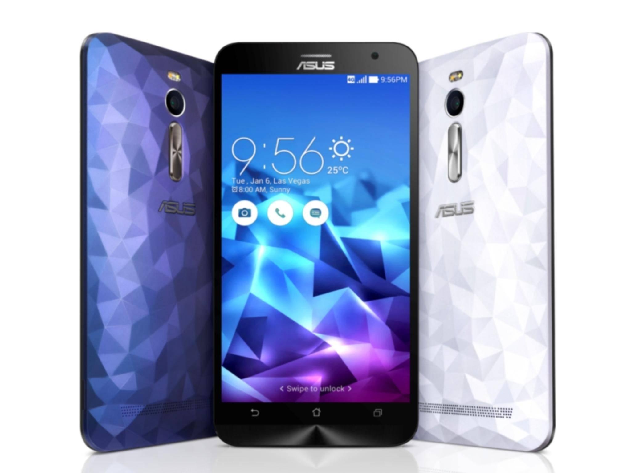 Sieht komisch aus, ist aber so: Das Asus ZenFone 2 Deluxe.