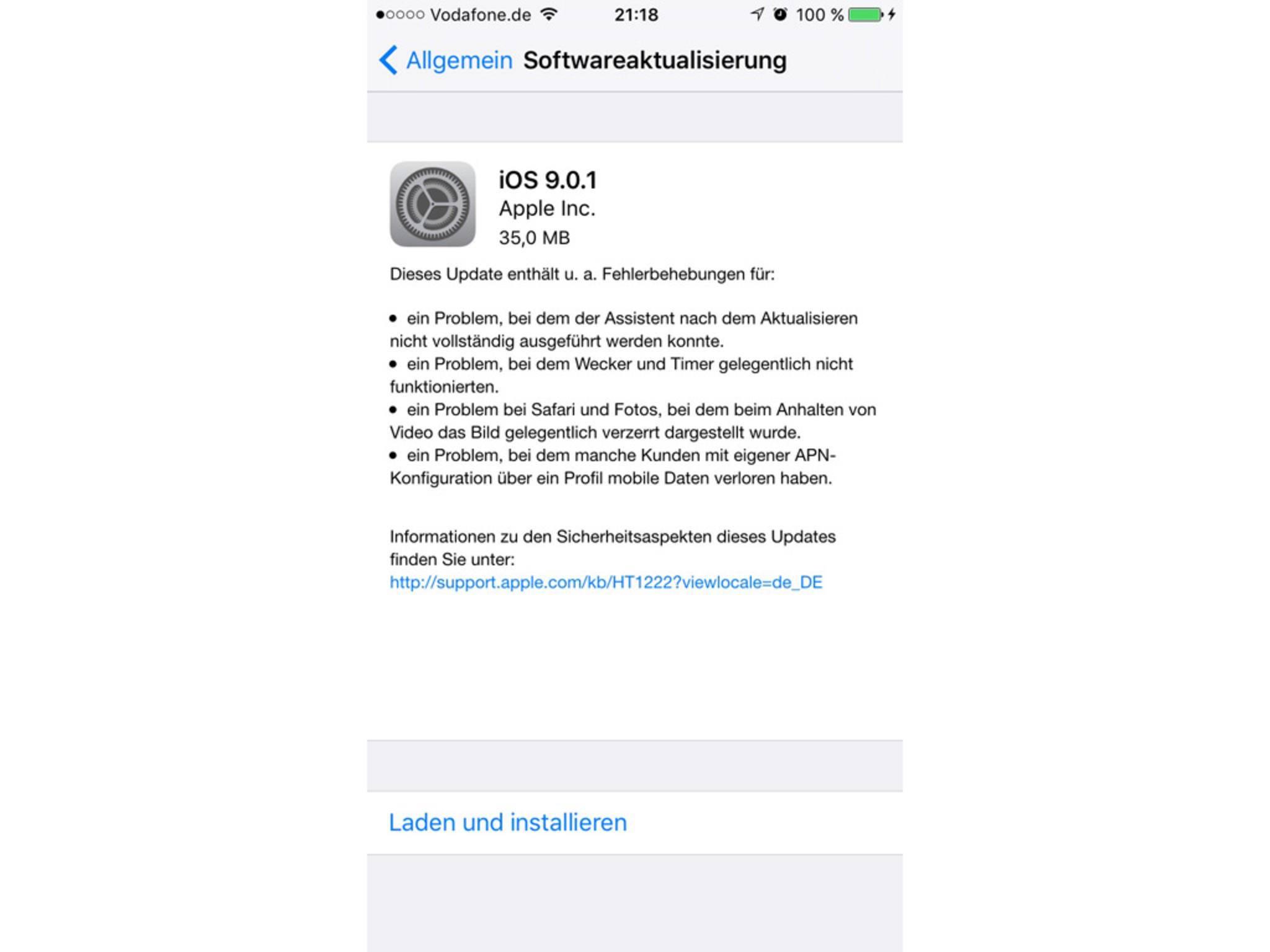 Das Update auf iOS 9.0.1 behebt die größten Probleme und Bugs.