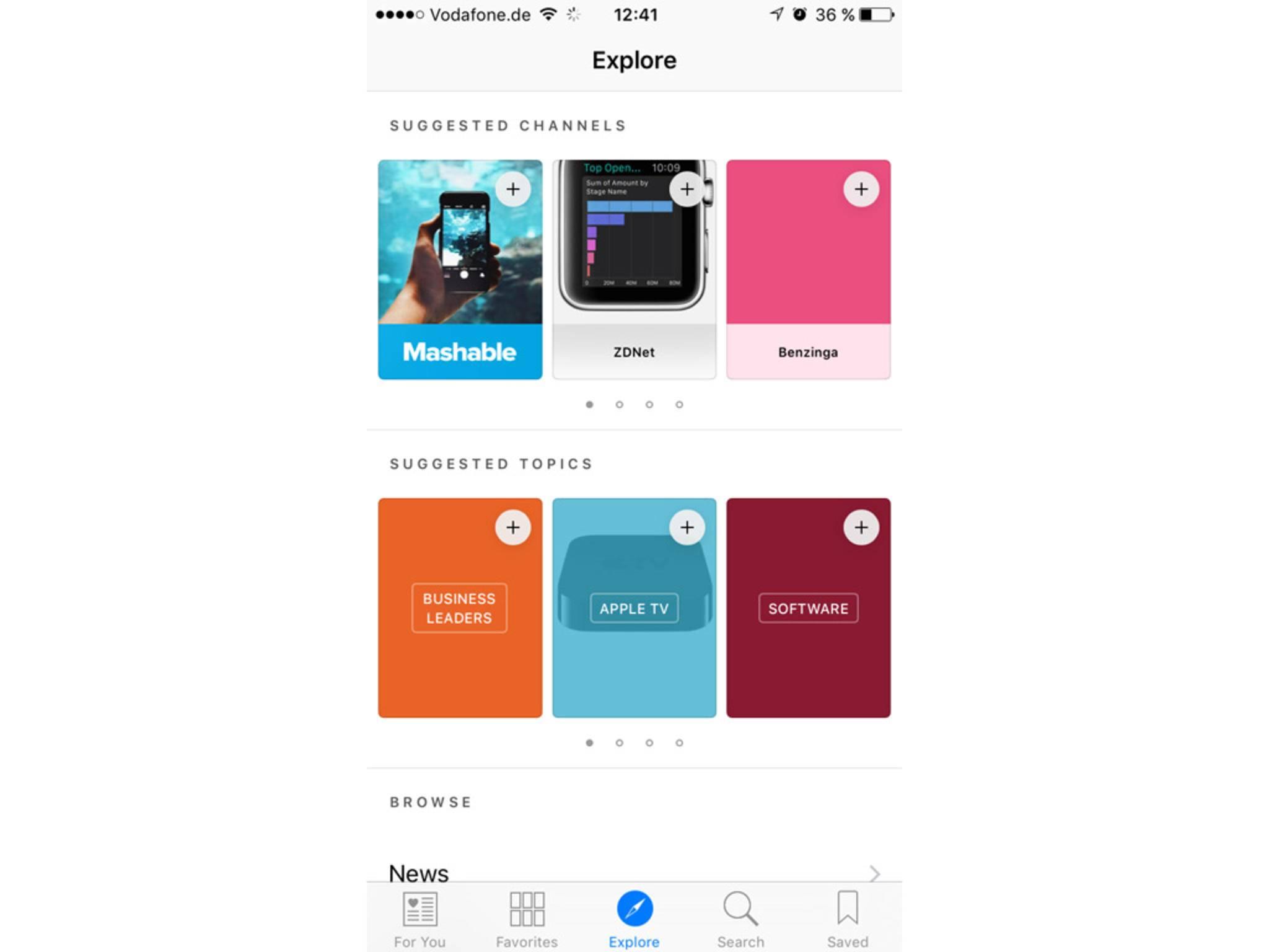 Die News-App bietet diverse Themen-Kanäle und Topics zur Individualisierung.