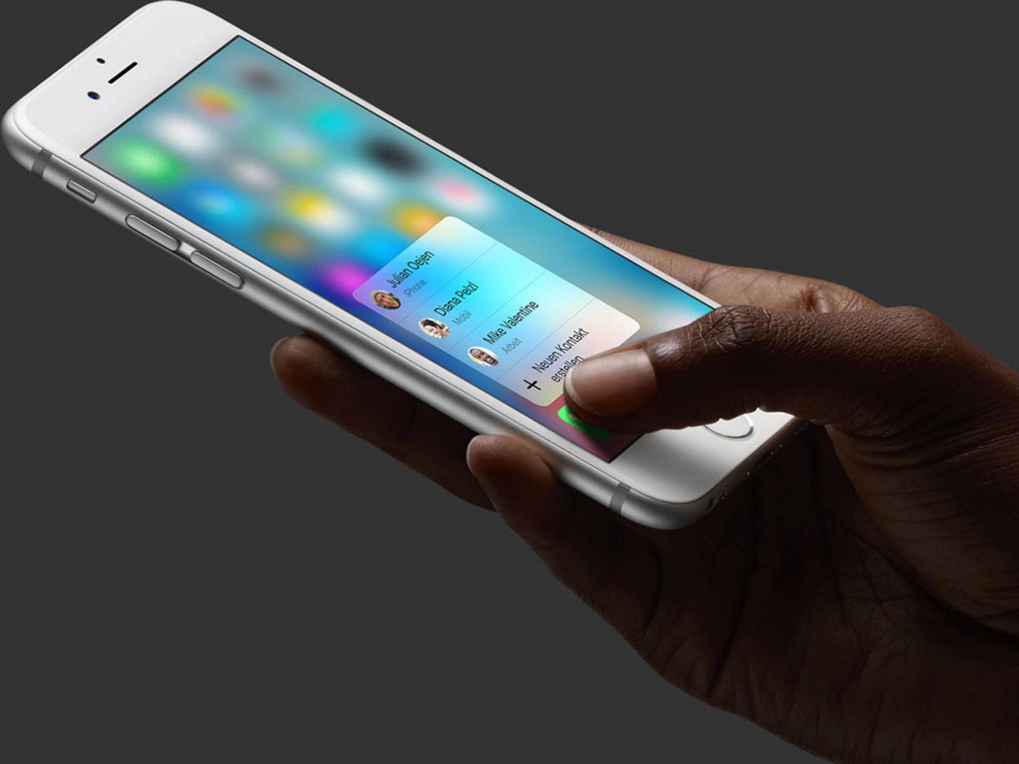 Die Displayauflösung bleibt, beim iPhone 6s reagiert der Screen auf unterschiedlich starken Druck.