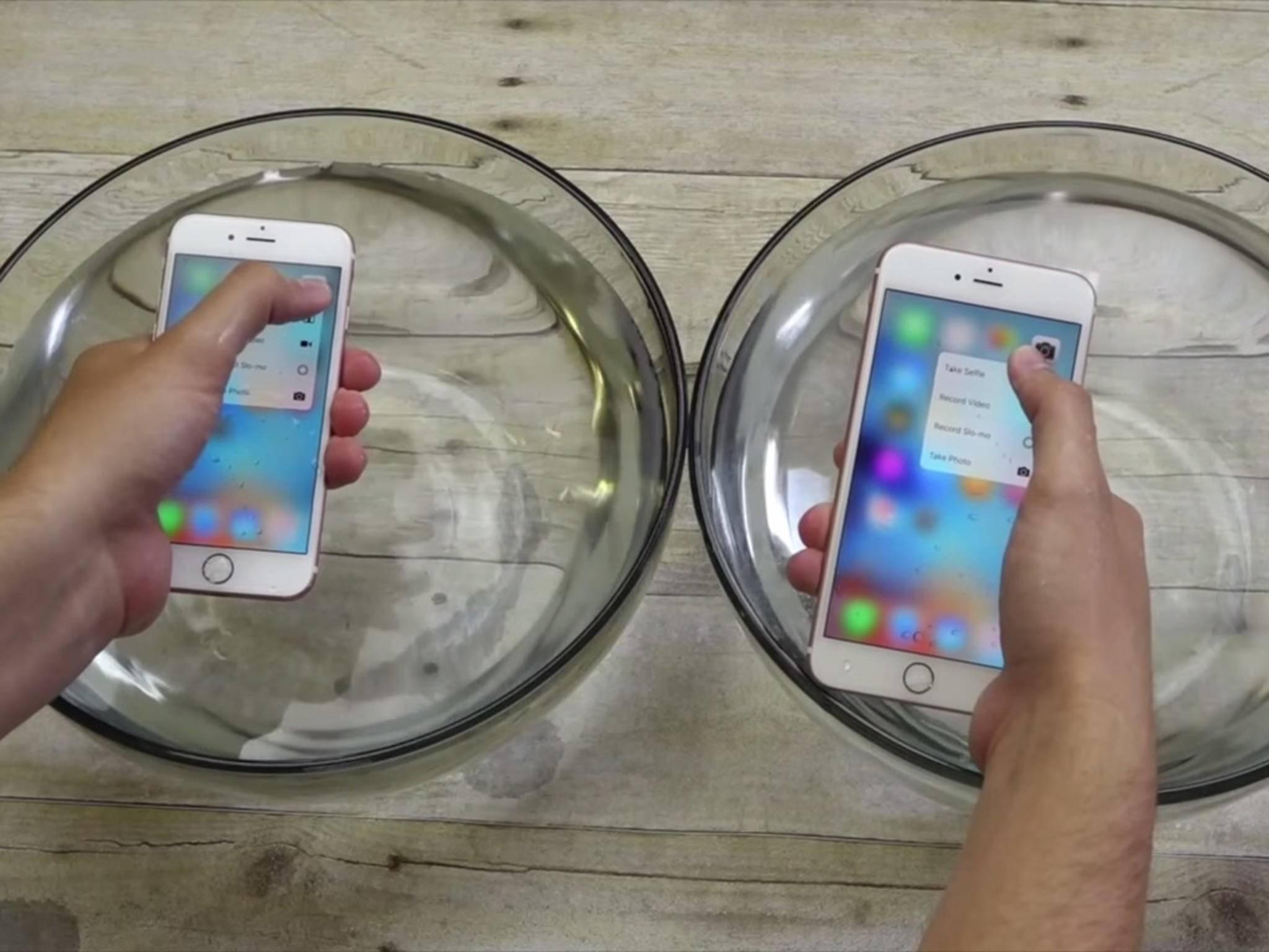 Das iPhone 6s im Vollbad-Test: Über eine Stunde hielt das Gerät durch.