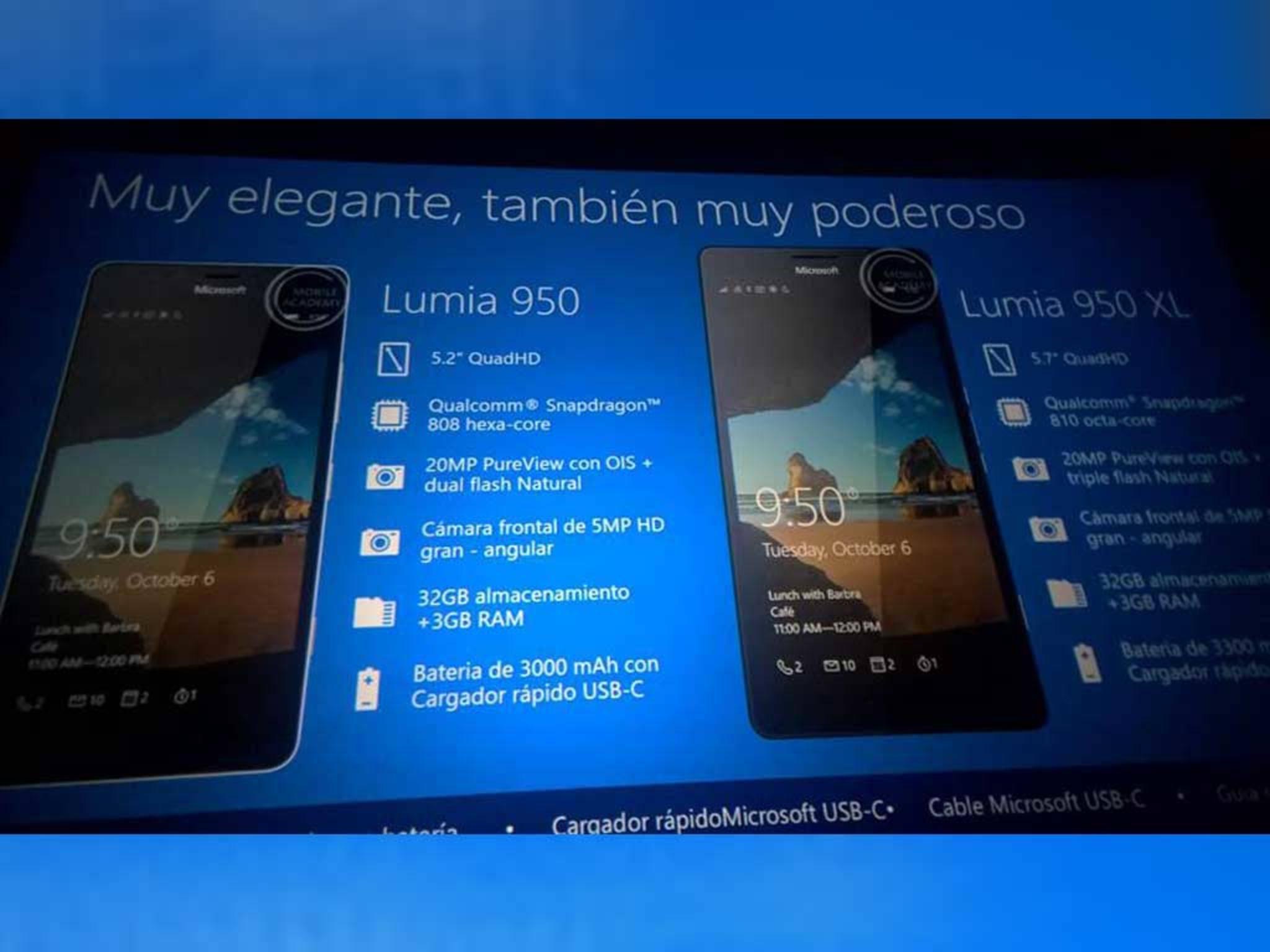Die geleakten Bilder aus der Präsentation zeigen die neuen Lumia-Modelle.