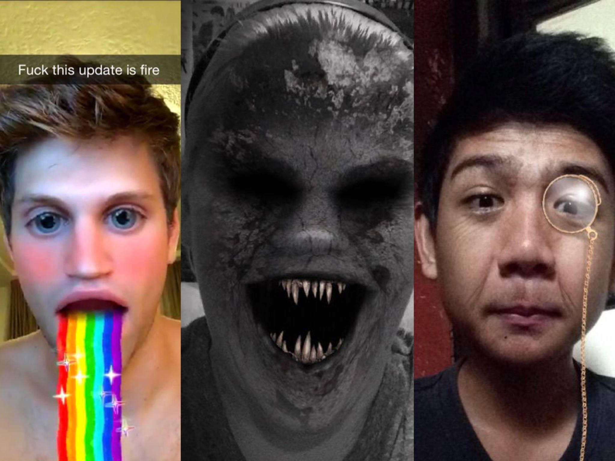 Eine Auswahl der Snapchat-Linsen der vergangenen Wochen.
