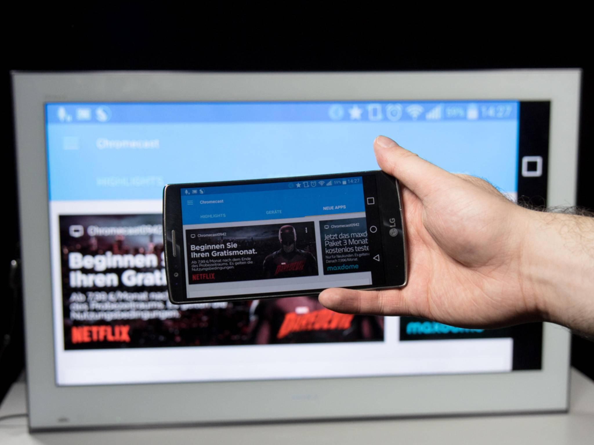 Die Chromecast-App für Android und iOS dient als zentrale Anlaufstelle für geeignete Angebote.