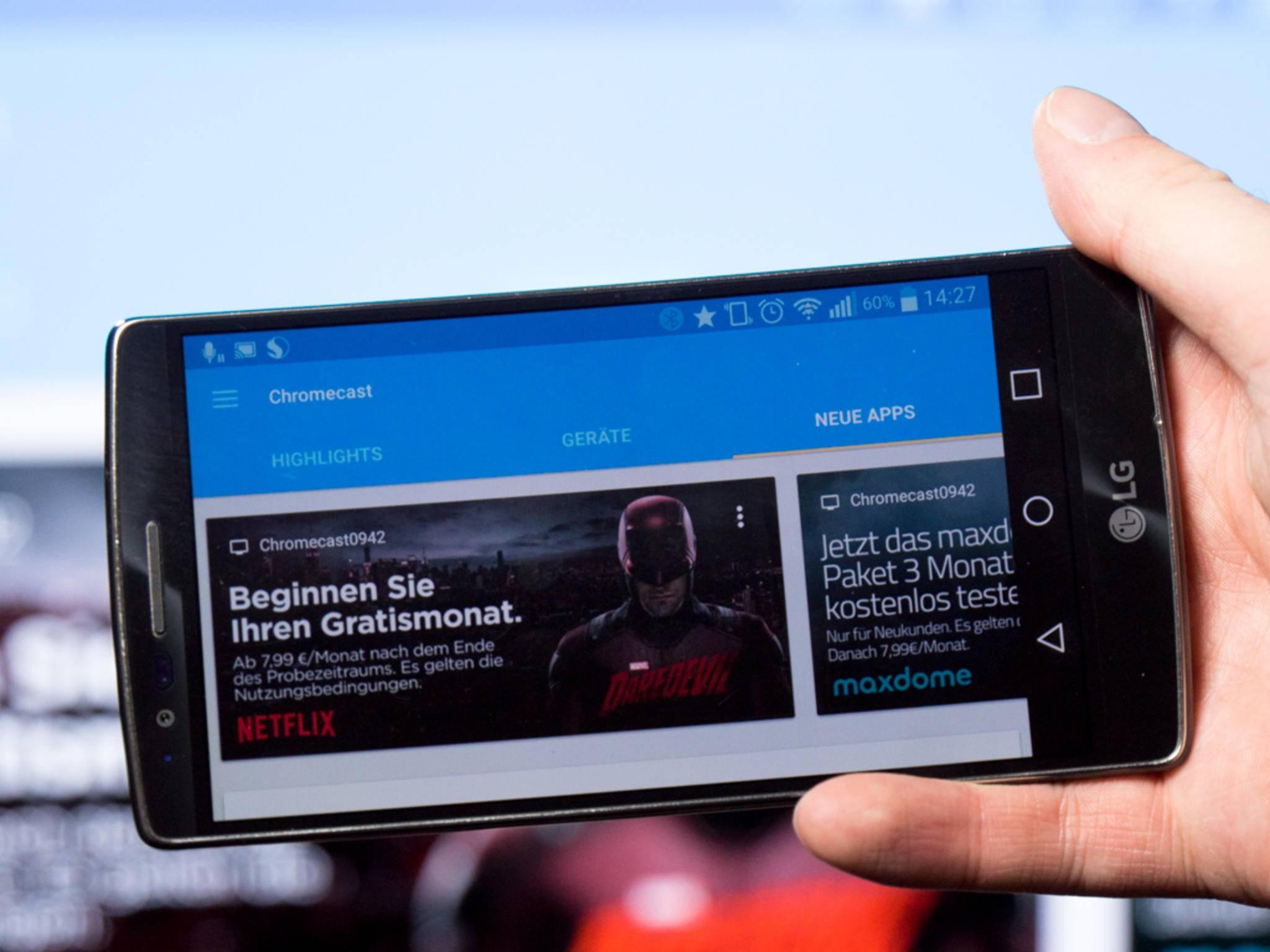 Chromecast streamt hunderte Apps vom Smartphone auf den Fernseher.