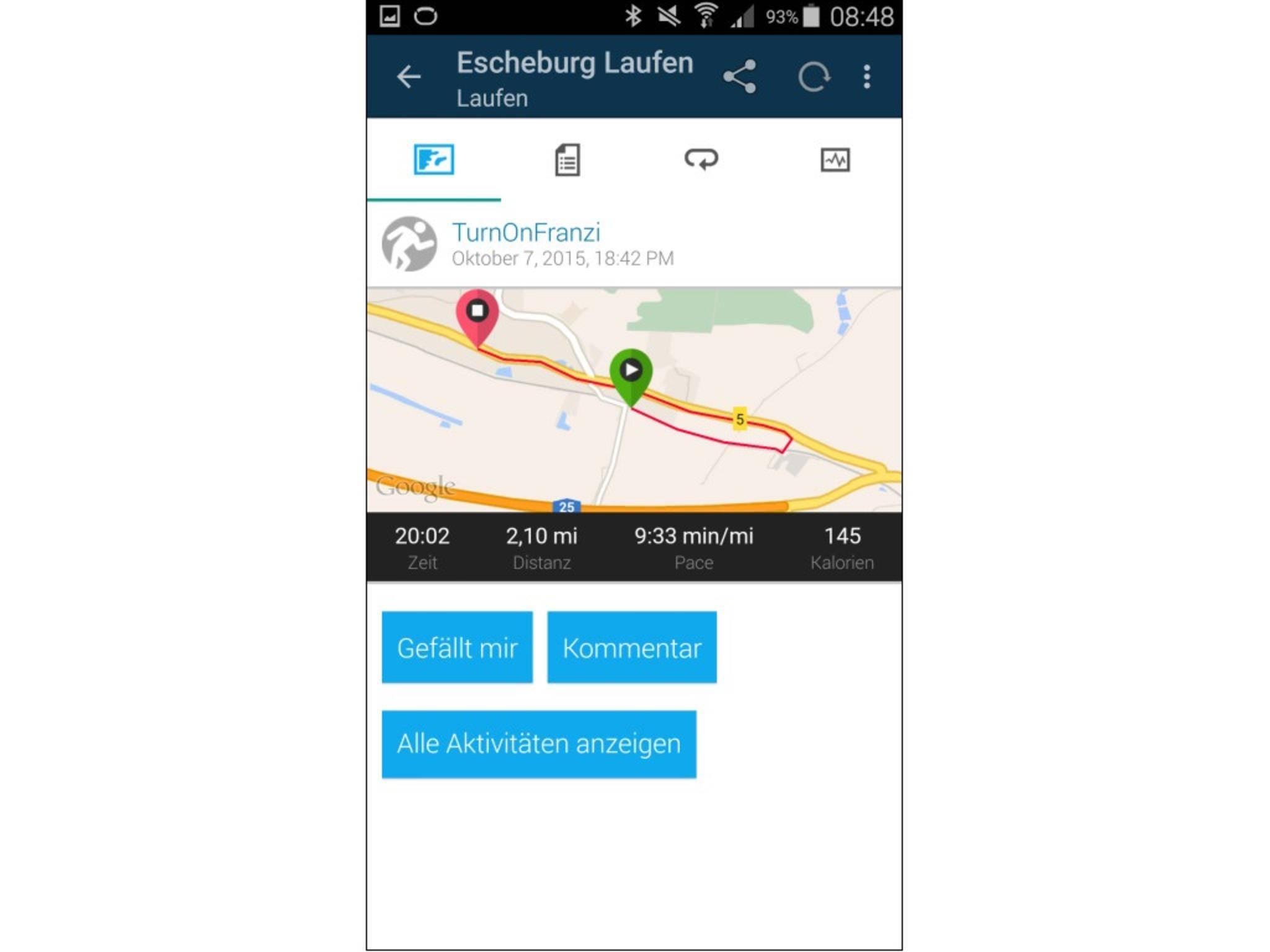 Laufrunden können per GPS mitgeloggt...