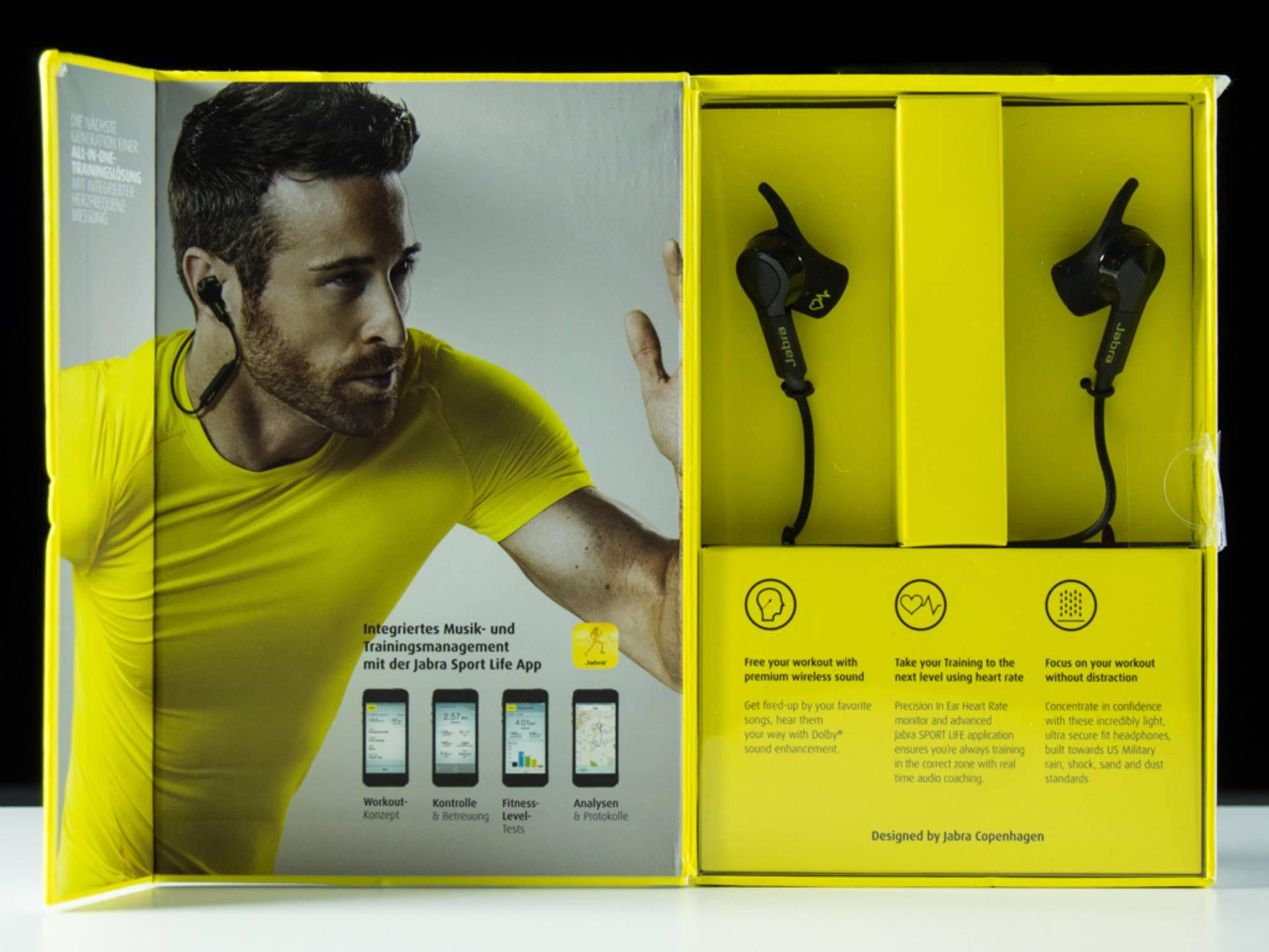 Das Design der Jabra Sport Pulse Wireless samt Verpackung dürfte BVB-Fans ansprechen.