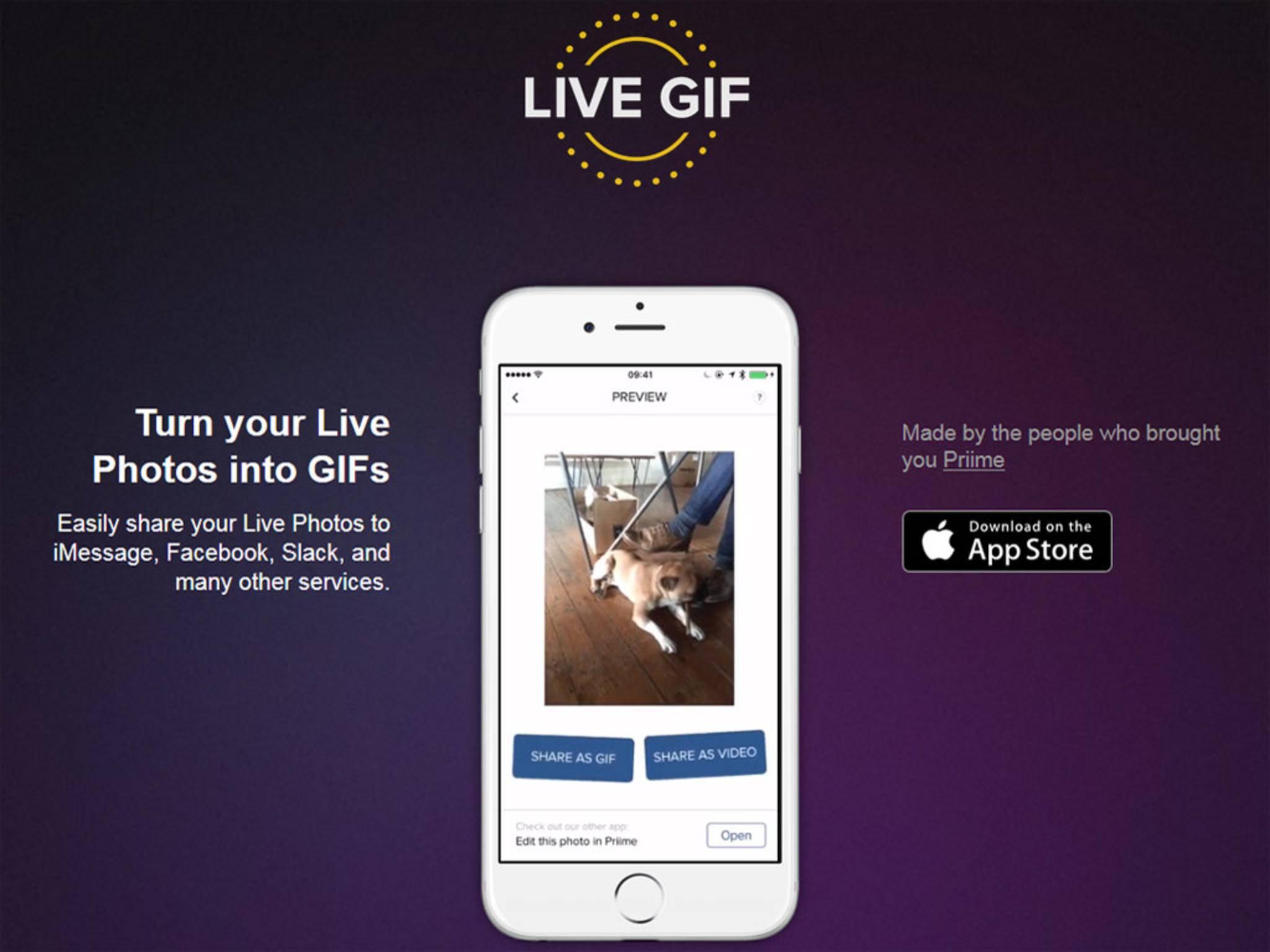 Die App Live GIF ermöglicht das Konvertieren in ein GIF oder Video.
