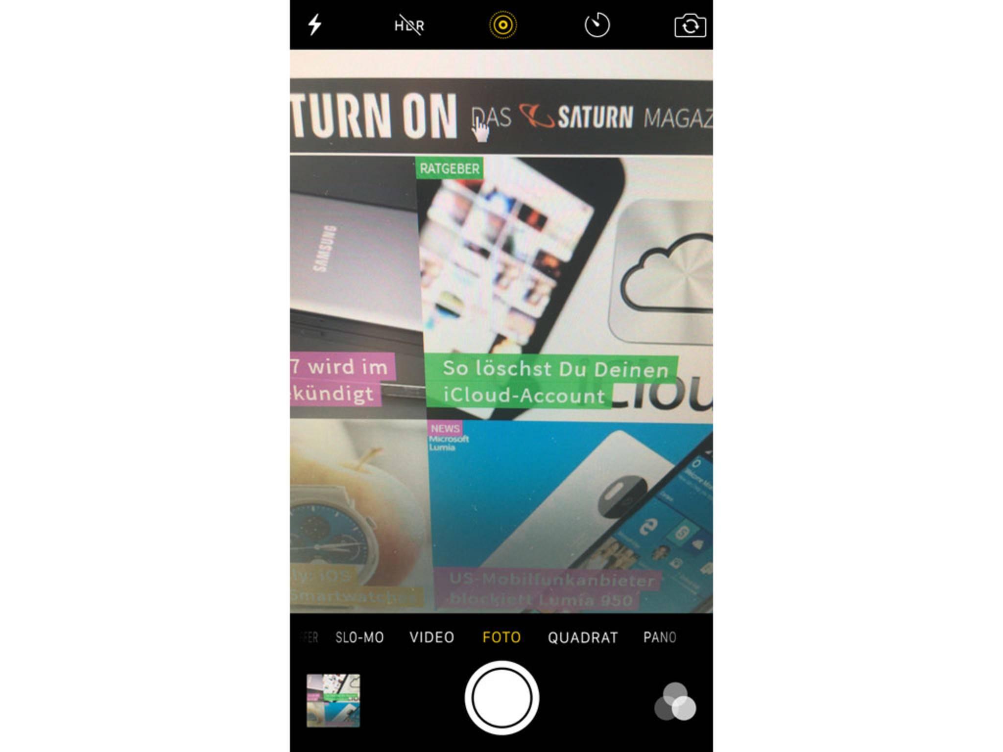 Das gelbe kreisähnliche Icon signalisiert die aktive Live-Photos-Funktion.