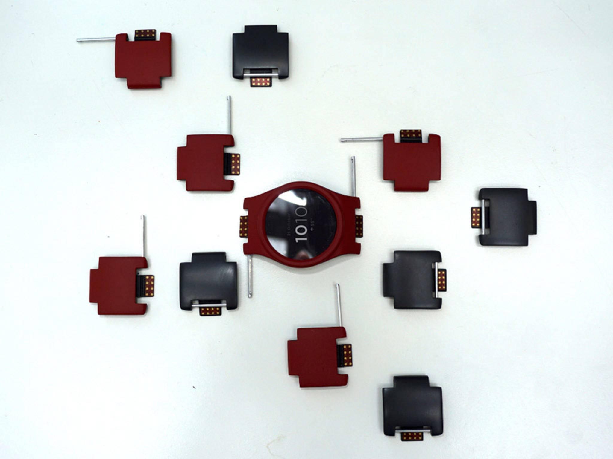 Die Smartwatch samt Modulen wird es in drei Farben geben.
