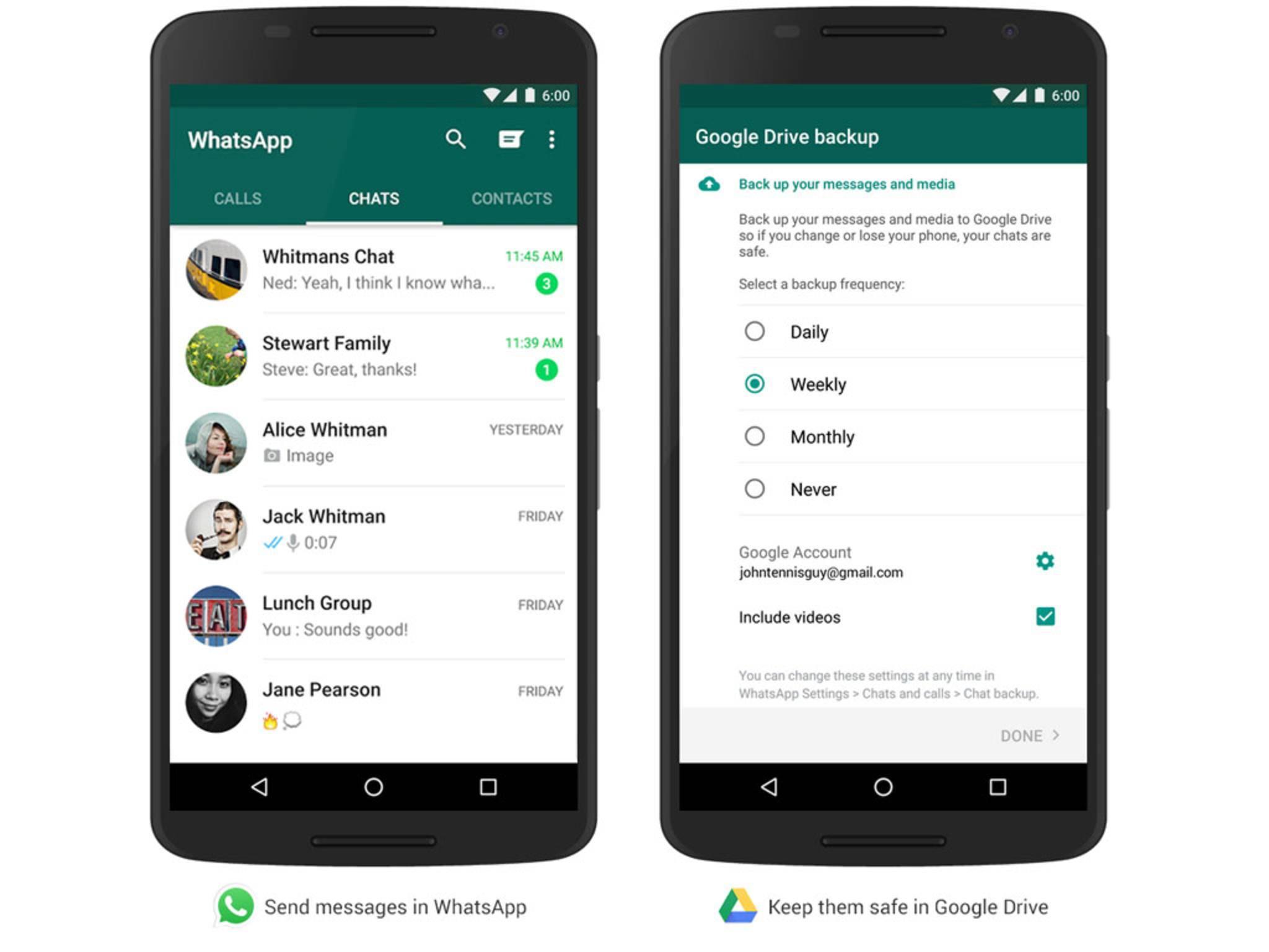 Ein vollständiges WhatsApp-Backup lässt sich künftig über Google Drive anlegen.