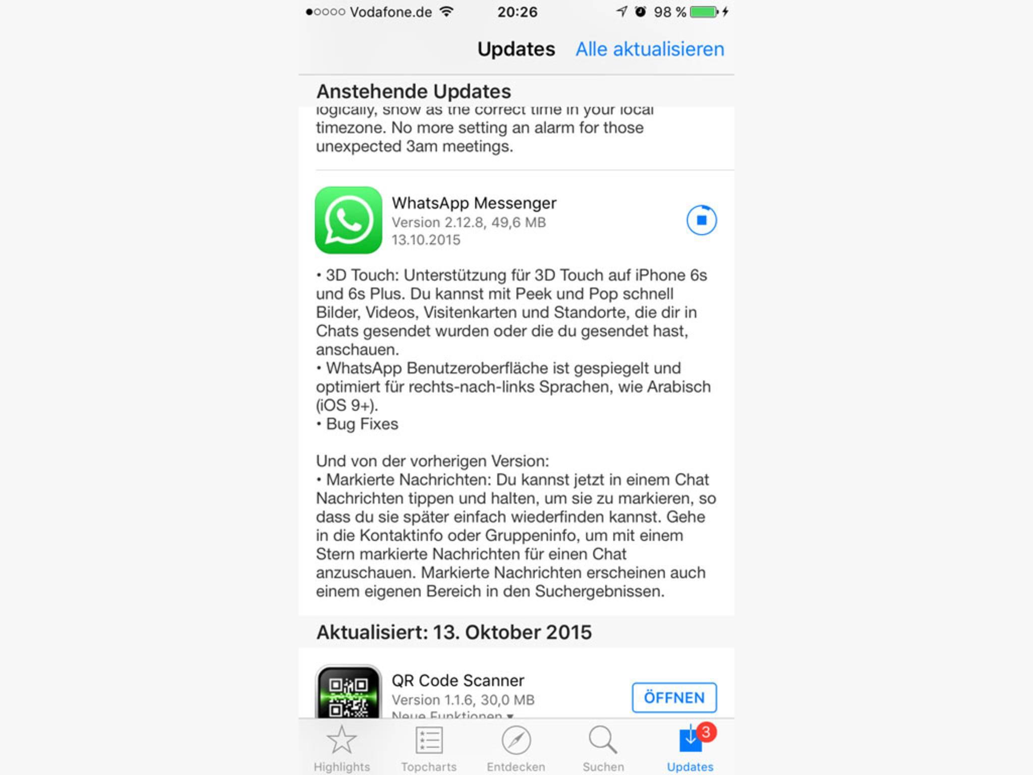 Das erste WhatsApp-Update lief noch nicht bei allen rund...
