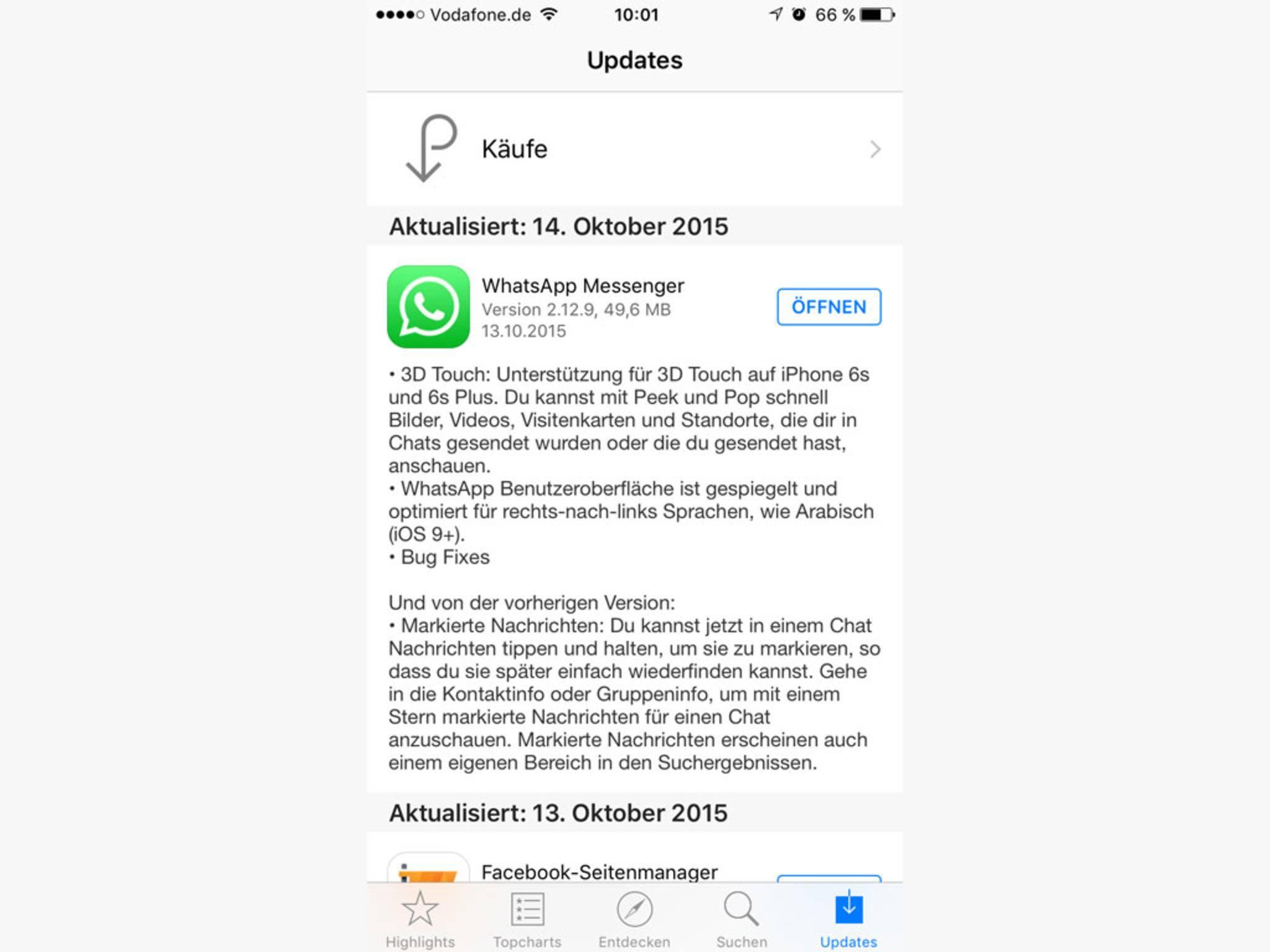 ...deswegen hat WhatsApp gleich noch ein weiteres Update veröffentlicht.