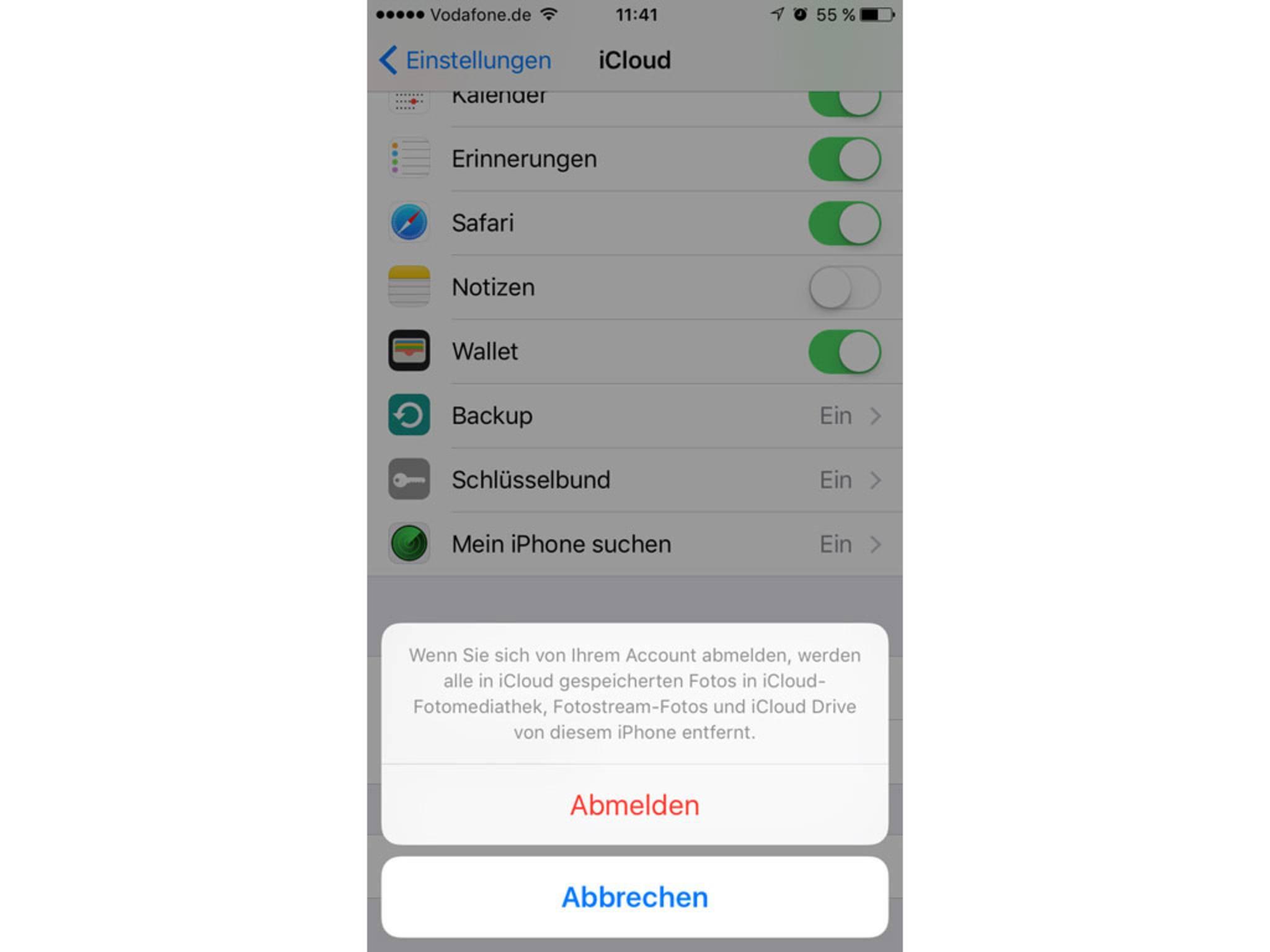 Willst Du Deinen iCloud-Account löschen, muss diese Abfrage bestätigt werden.