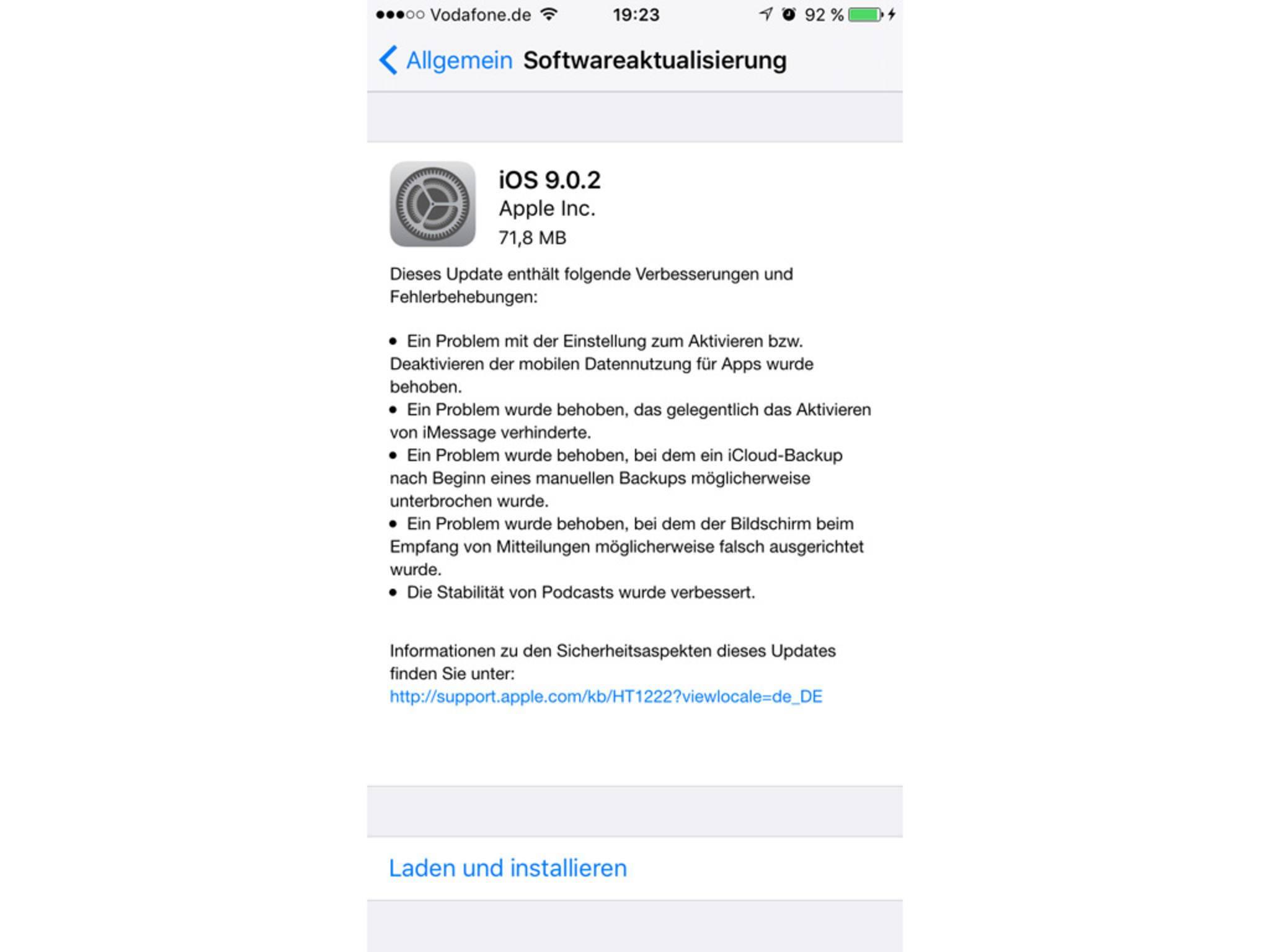 Das Update auf iOS 9.0.2 behebt zahlreiche Bugs.
