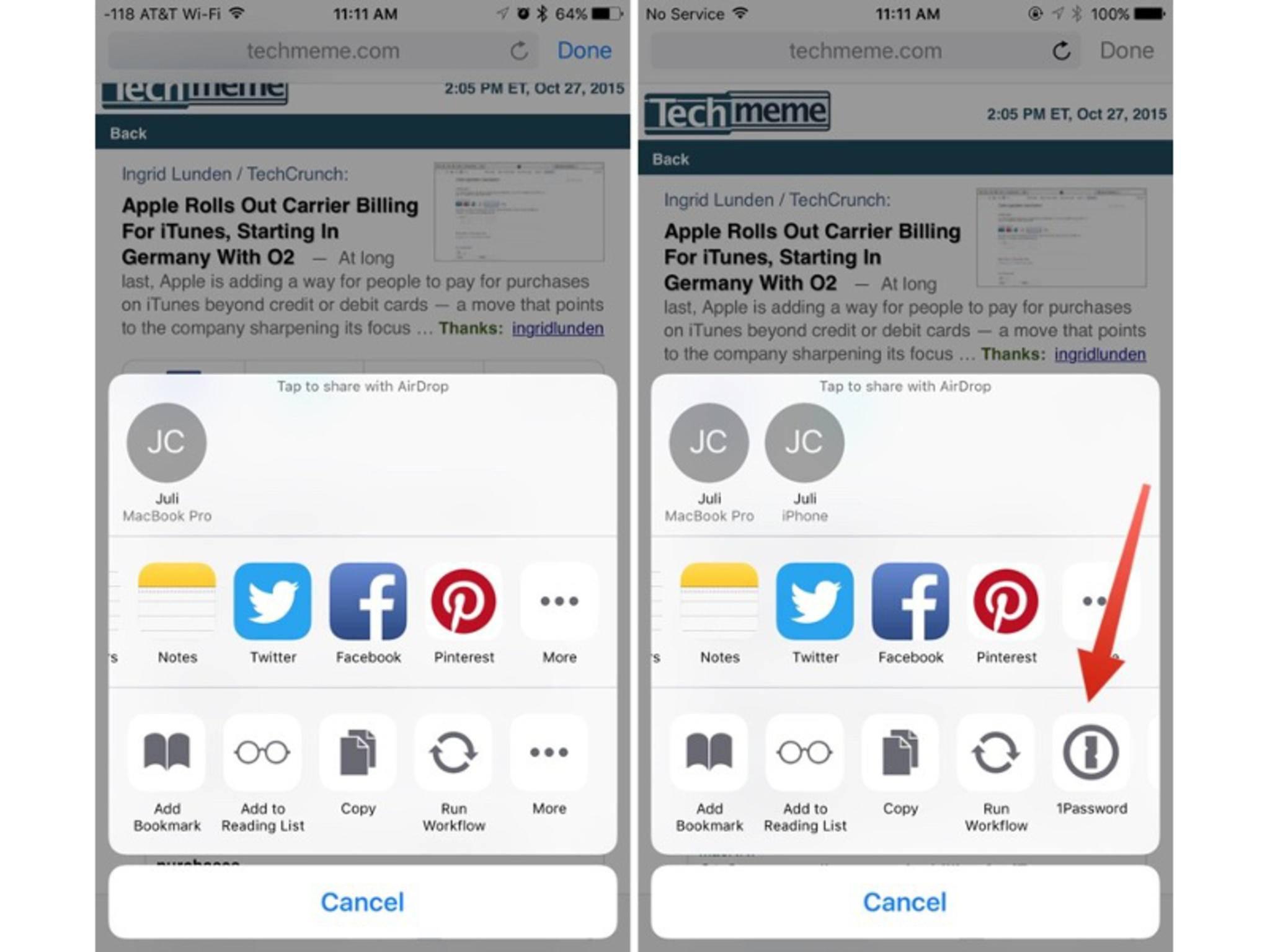 So sehen die Action Extensions (rechts) in iOS 9.2 aus.