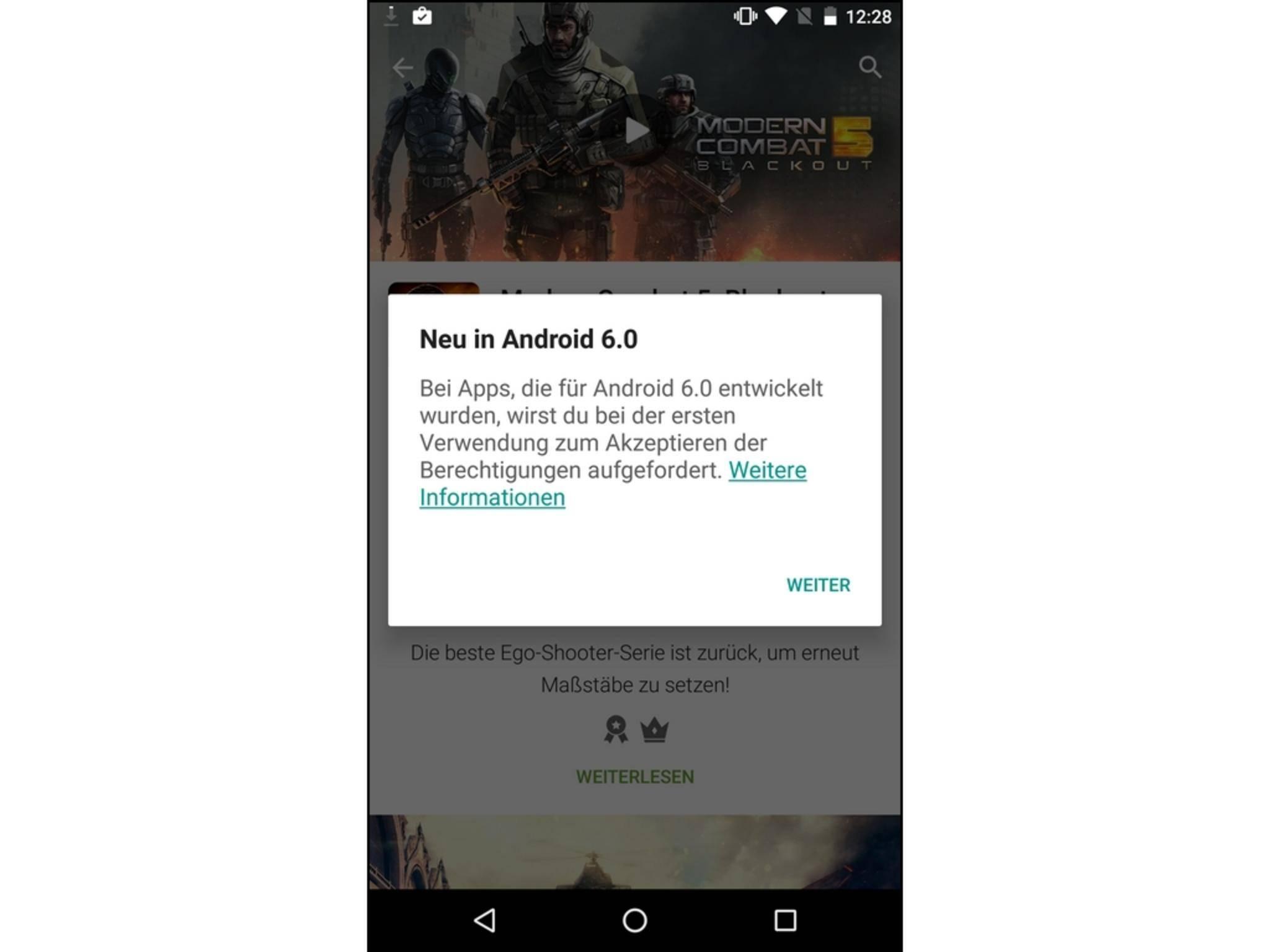 Die Berechtigungen für Apps müssen nicht mehr bei der Installation erteilt werden.