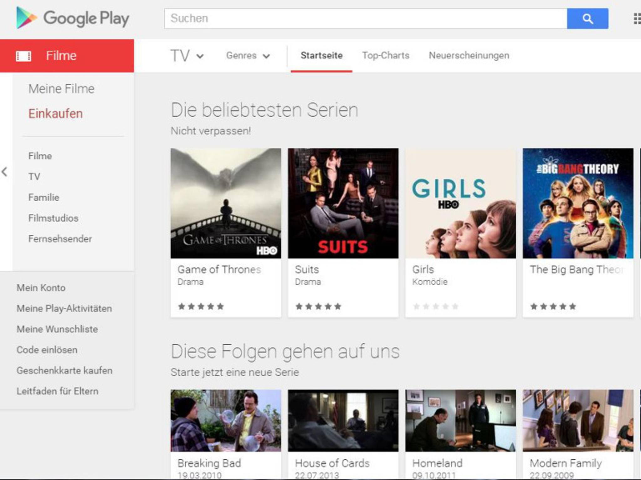 Google Play bietet jetzt auch TV-Serien an.