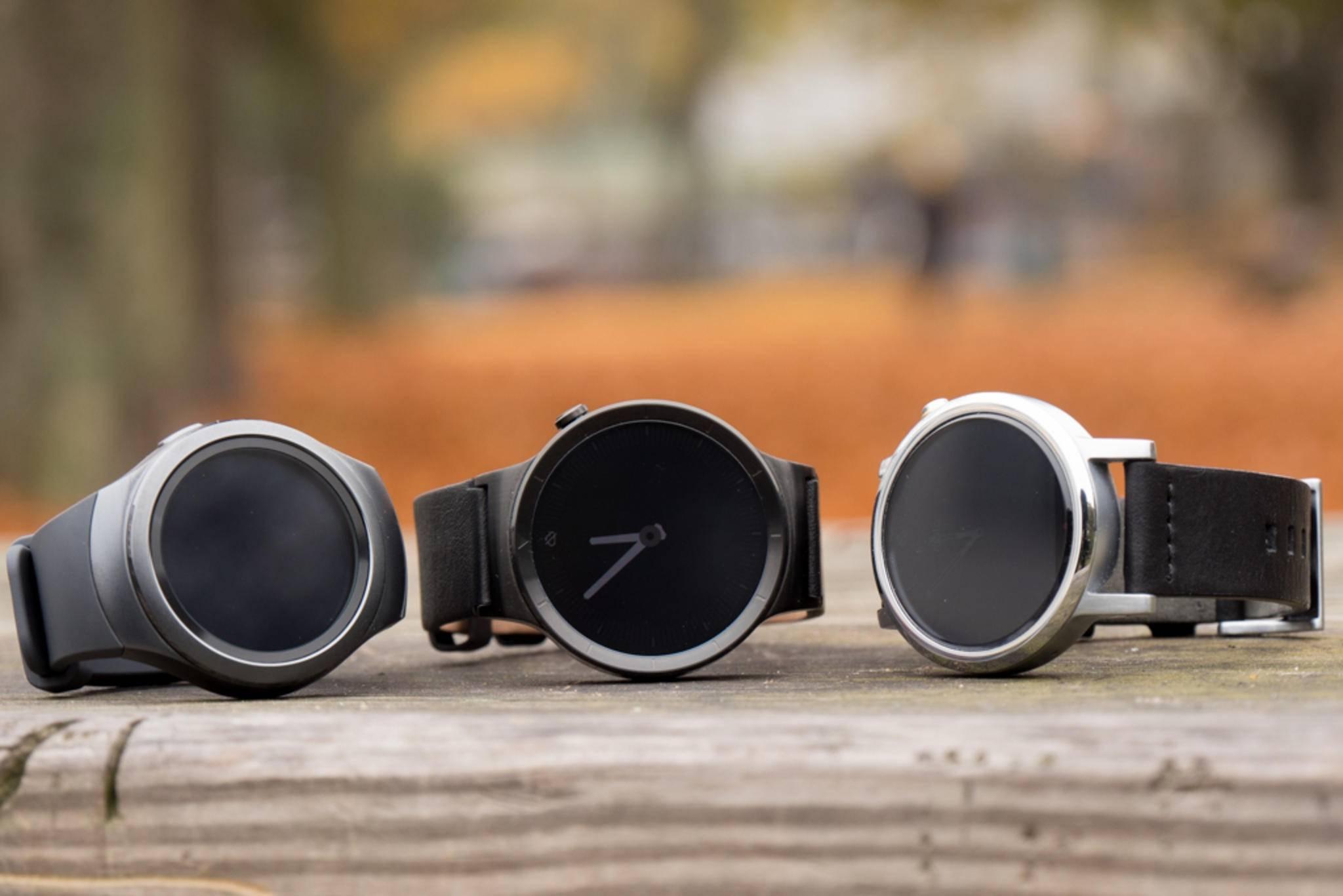 Eine runde Runde: Die Samsung Gear S2, die Huawei Watch Active und die Moto 360 (2015).