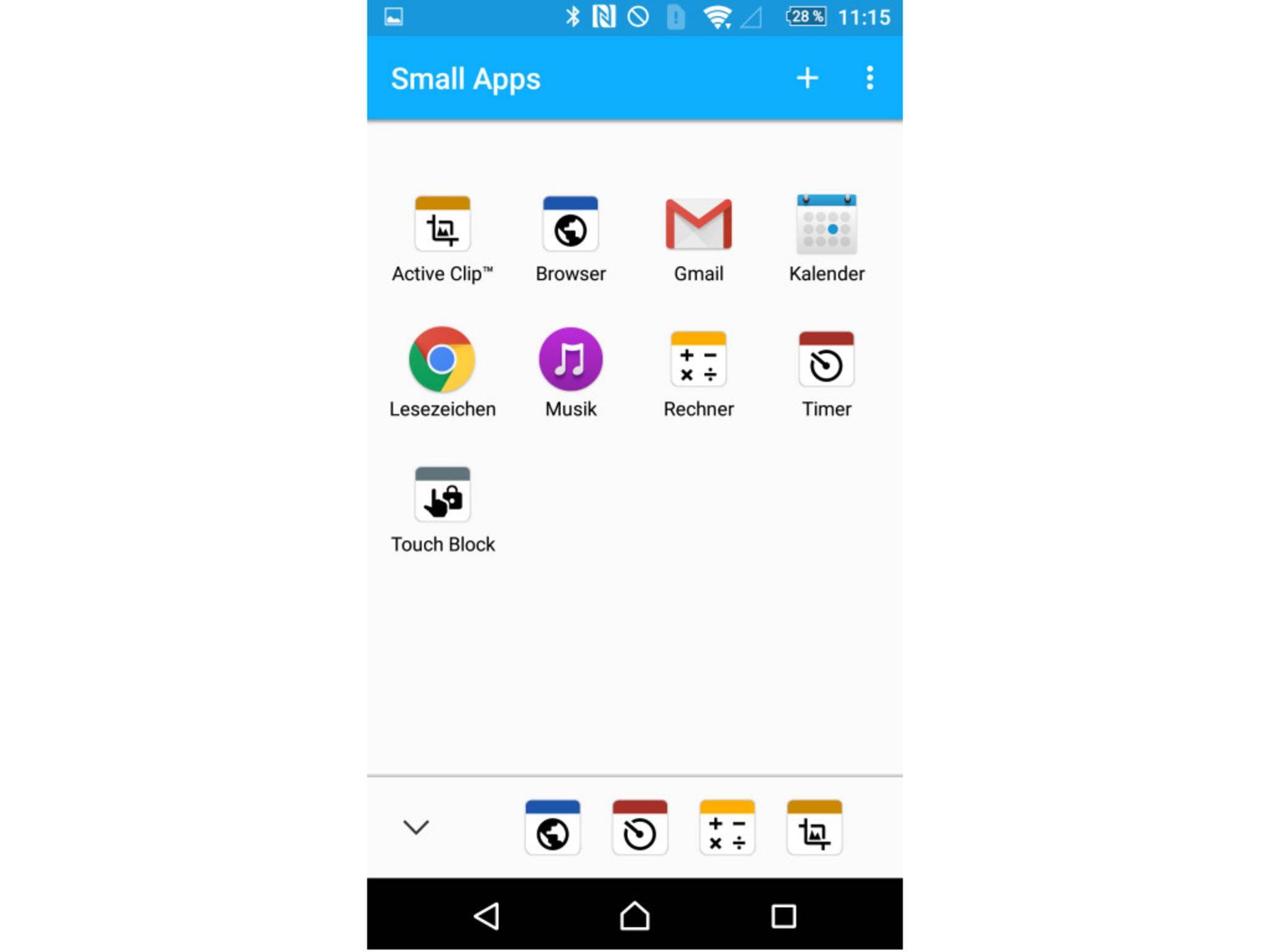 Der Pfeil links öffnet eine Ansicht mit allen Small Apps.