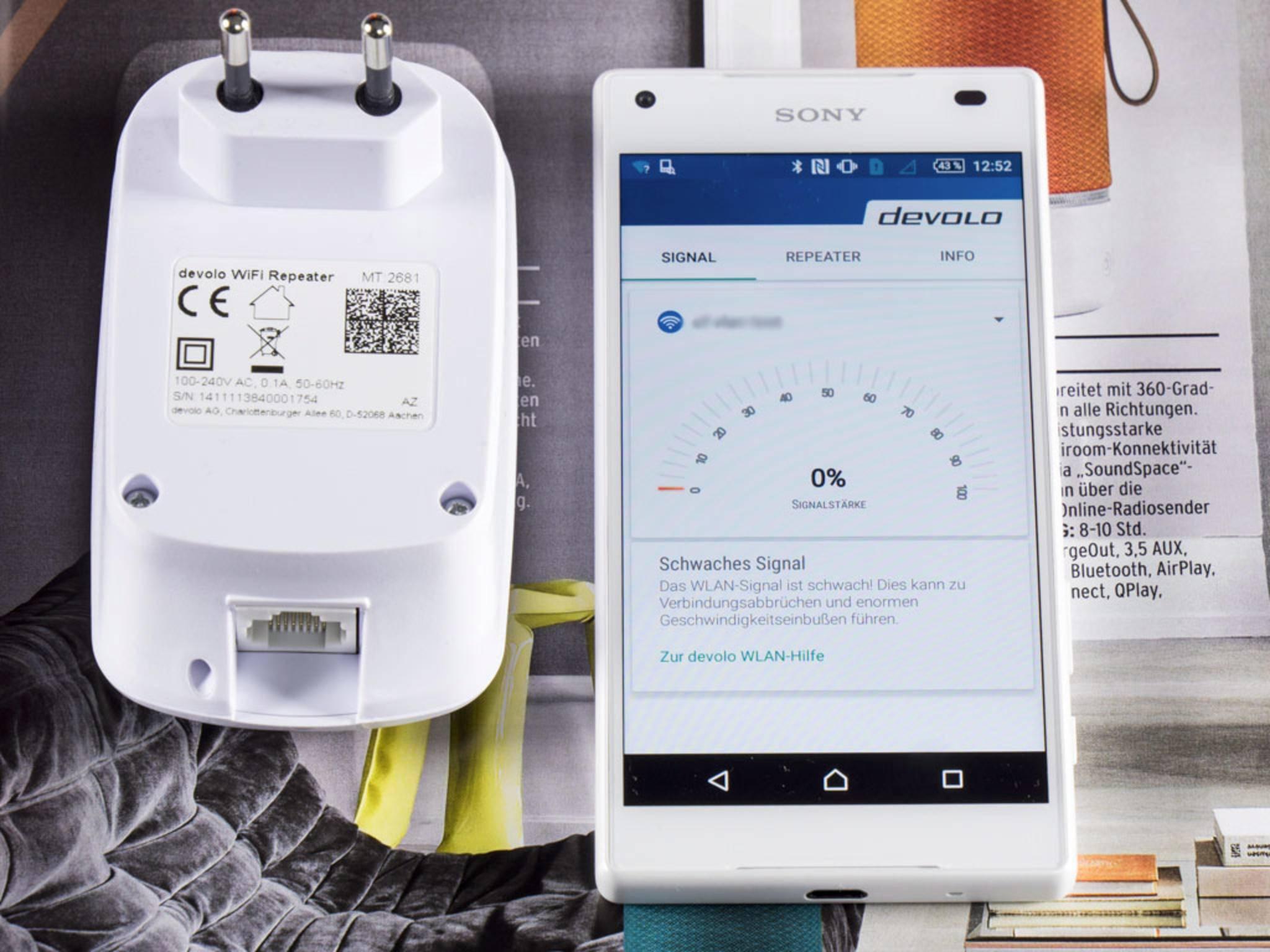 Die Android-App WLAN Hilfe kann die Signalstärke anzeigen.