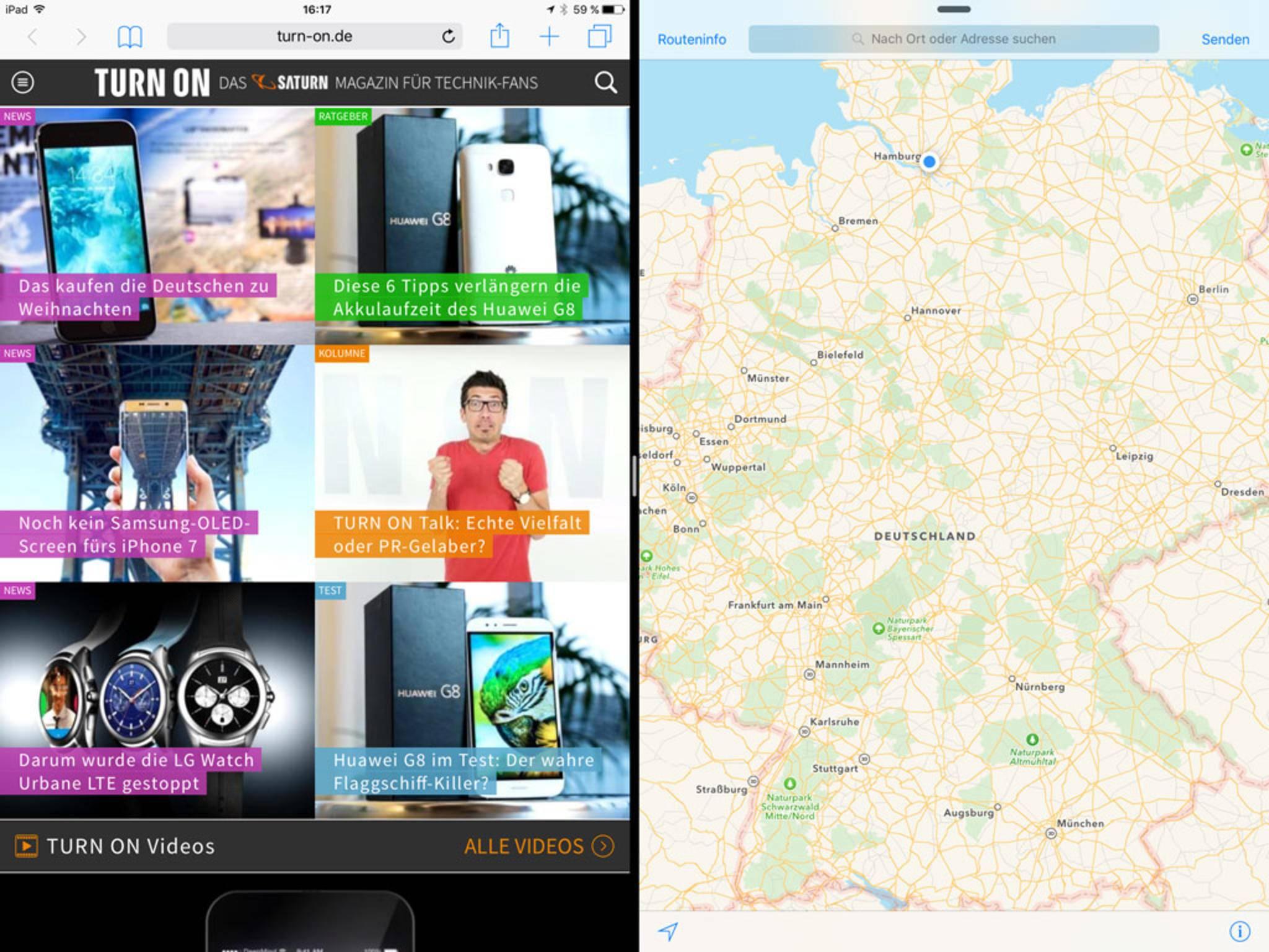Der SplitView-Modus erlaubt die Darstellung von zwei Apps nebeneinander.