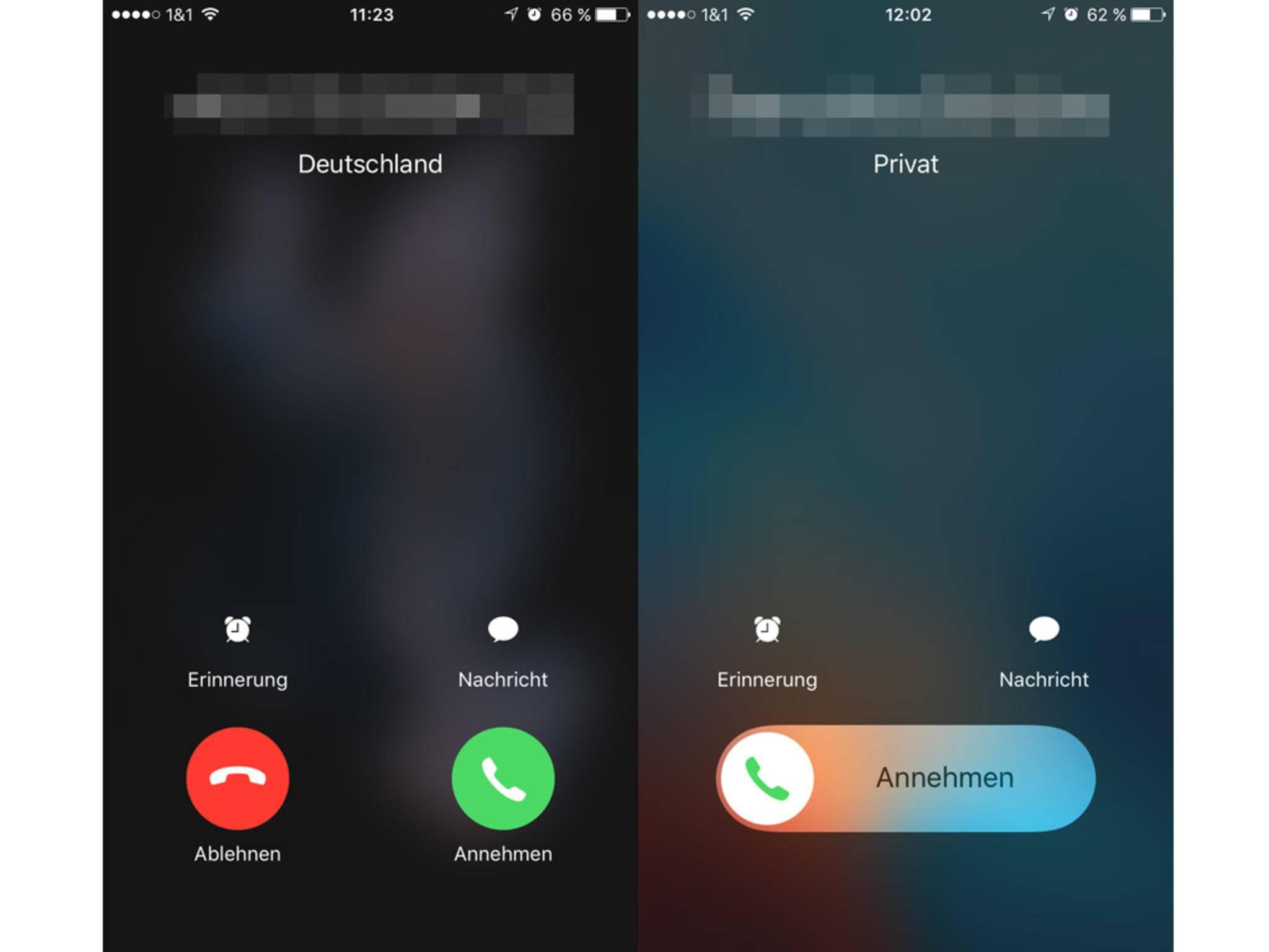 Je nach aktueller Nutzung läuft das Annehmen eines Anrufs anders ab.