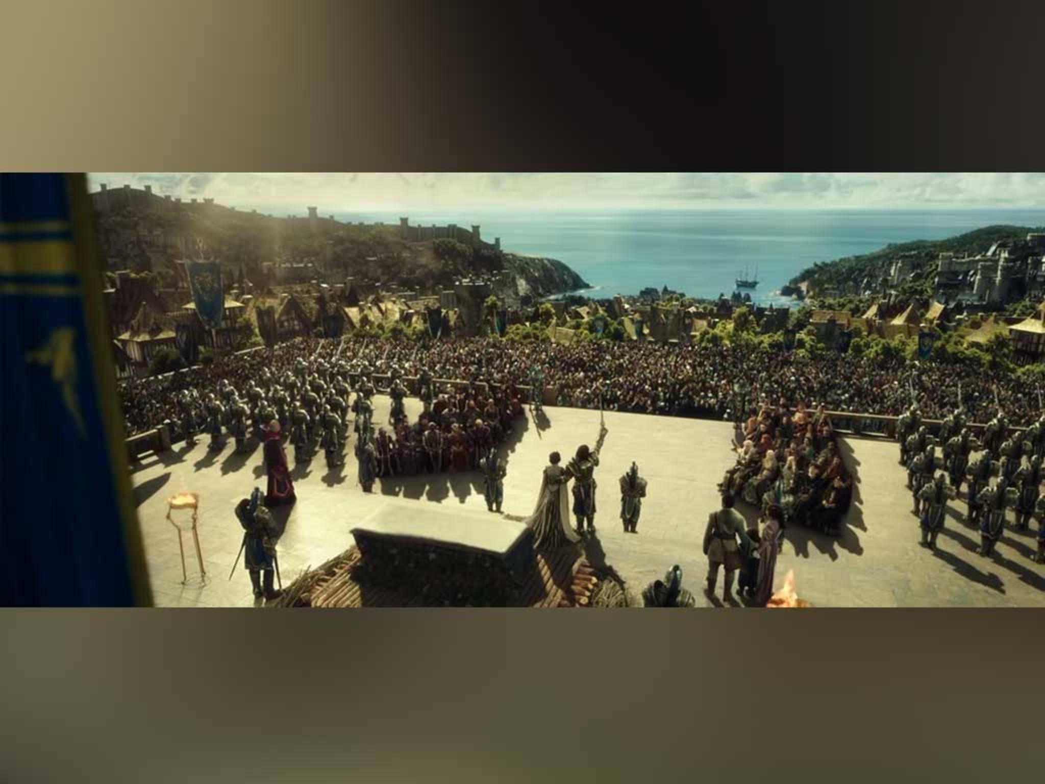 ... Ritter vor der Kathedrale versammeln.