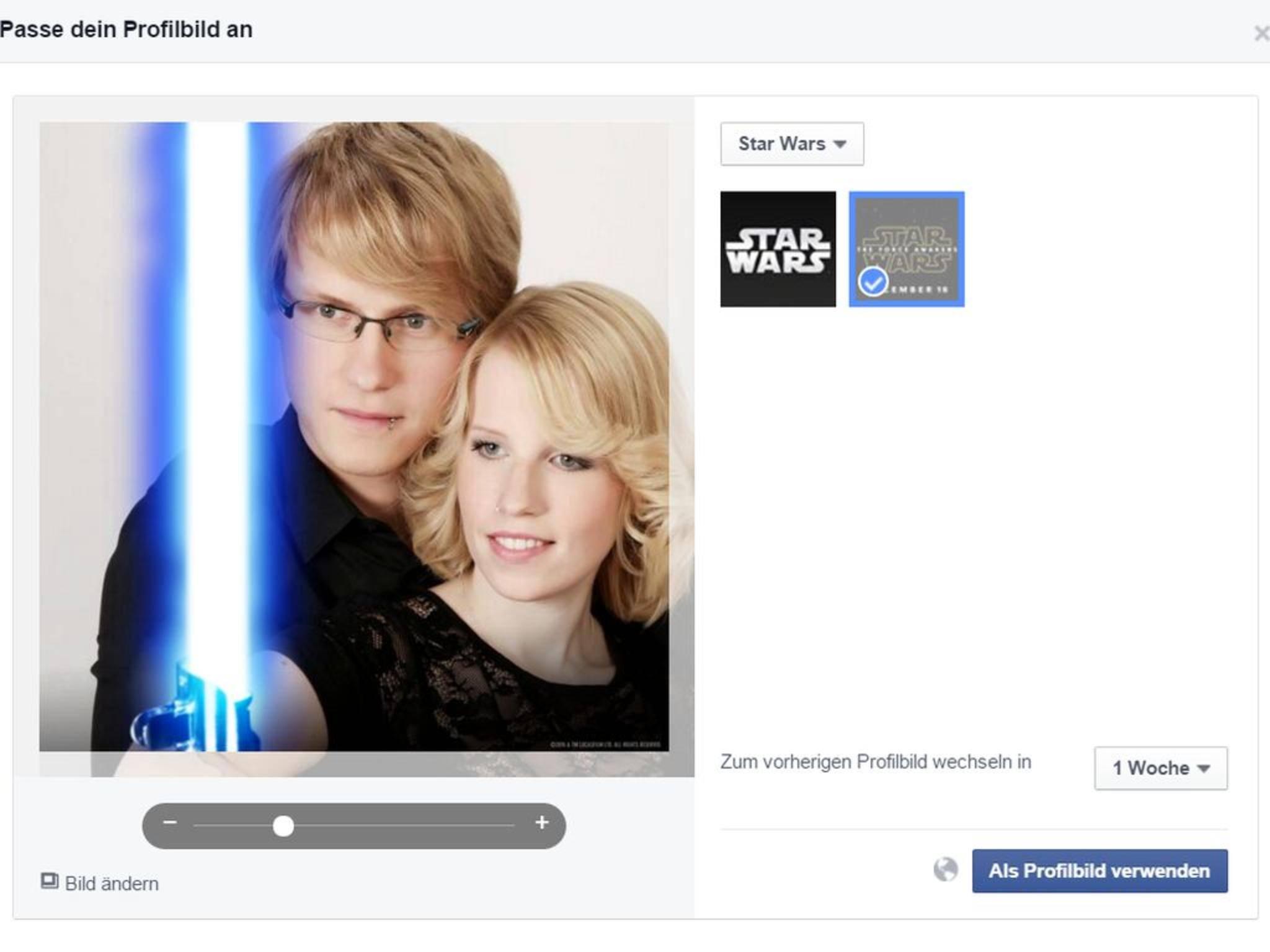Facebook lässt Dir die Wahl: blaues oder rotes Lichtschwert?