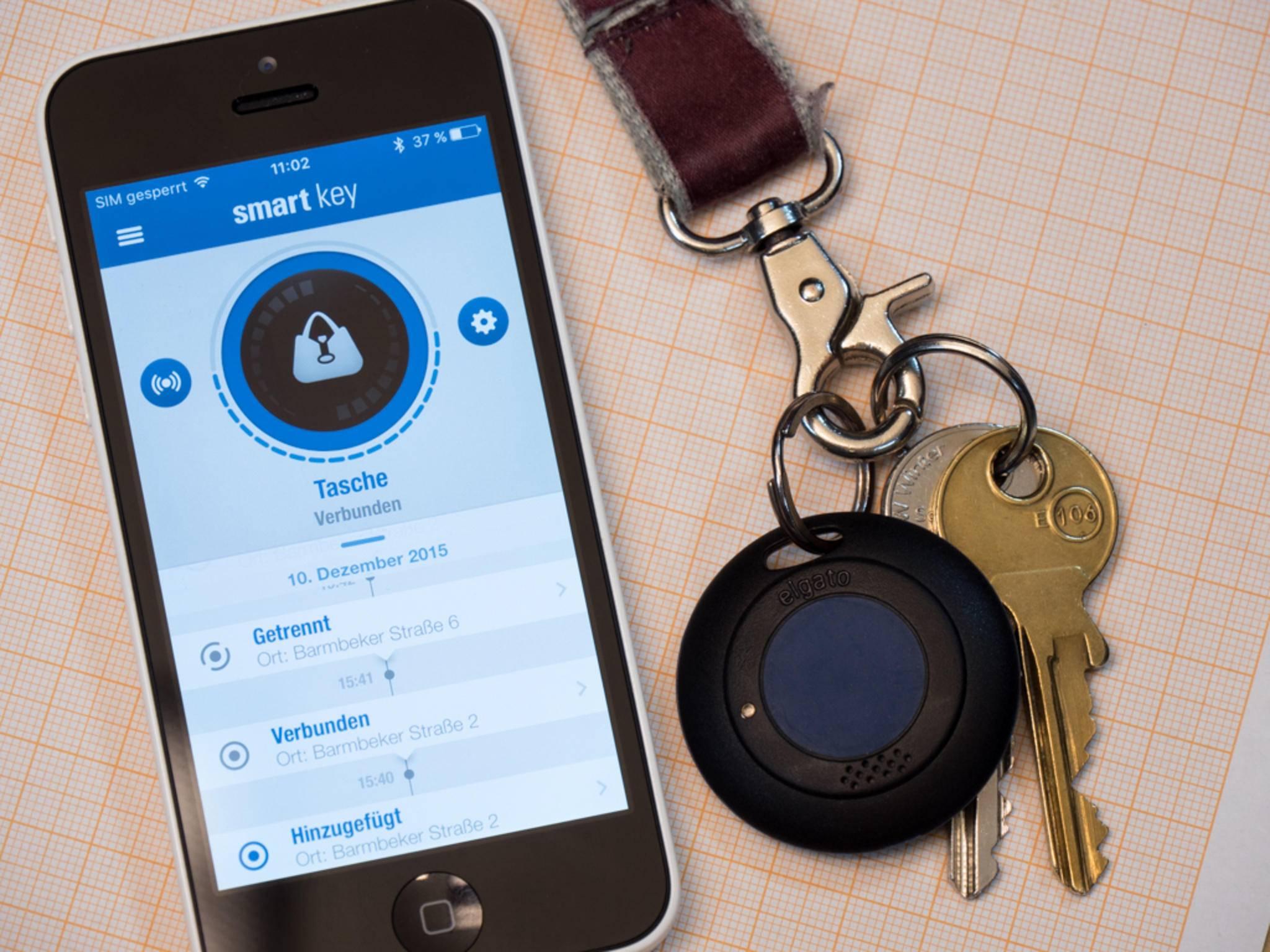 Der Elgato Smart Key wird vom iPhone aus überwacht.