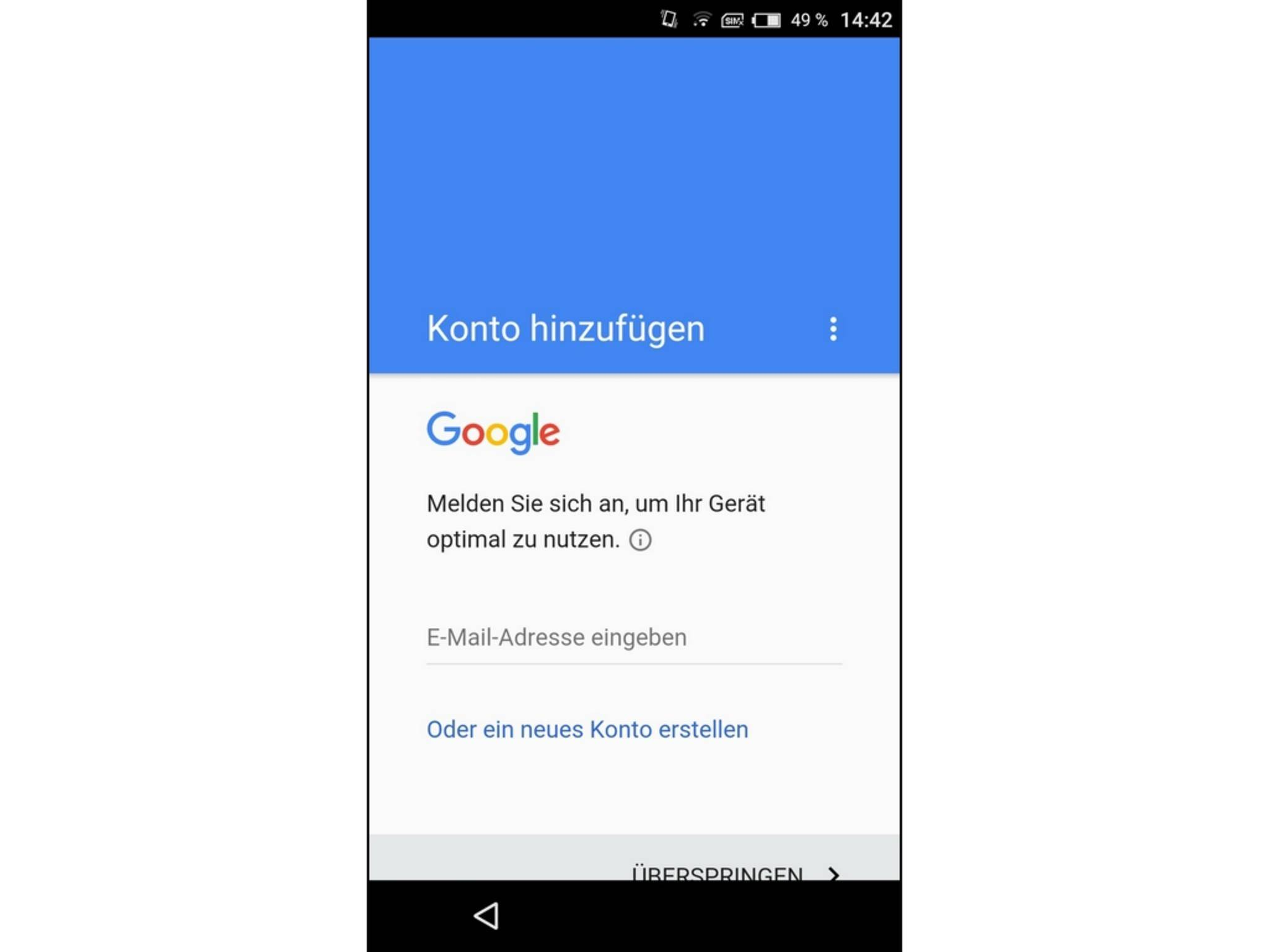 Mit dem Google-Konto erhältst Du Zugriff auf die wichtigsten Dienste.