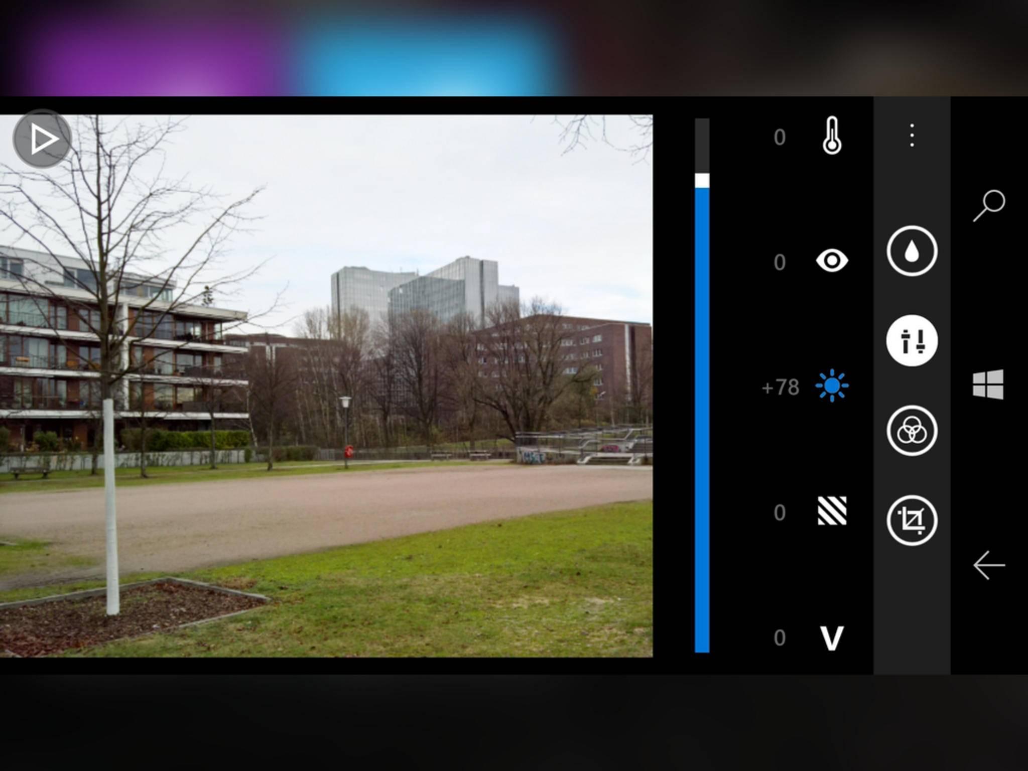 Mit dem Lumia Creative Studio lässt sich die Belichtung nachträglich regulieren.