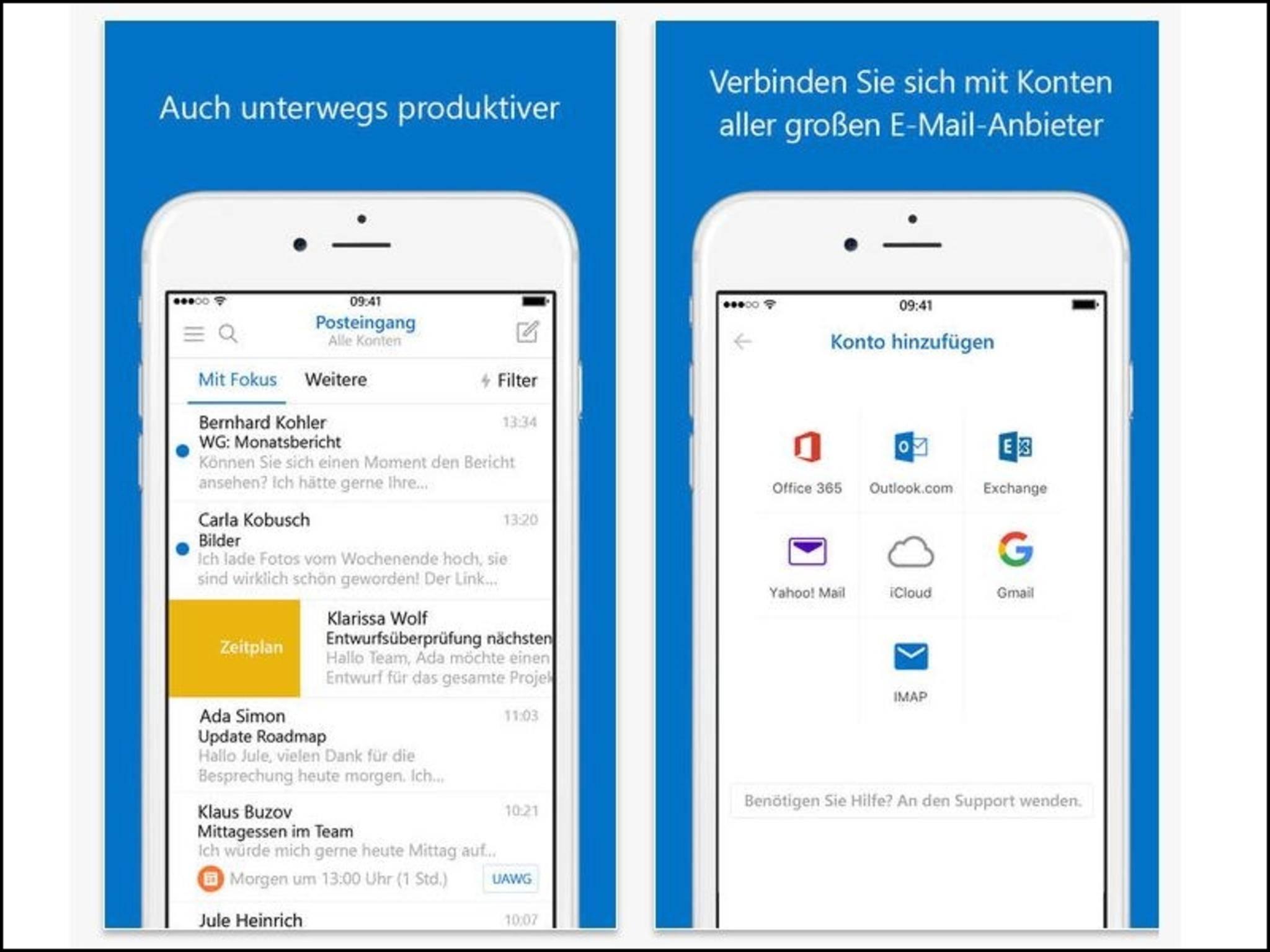 Outlook dient als zentrales Mail-Programm auf dem iPhone.