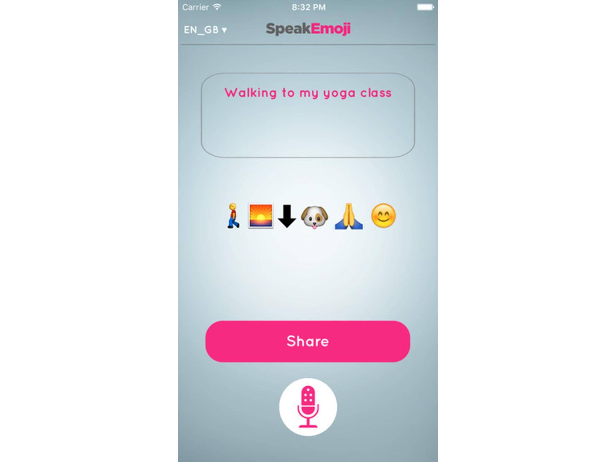 Eine neue App übersetzt gesprochene Wörter in Emojis.
