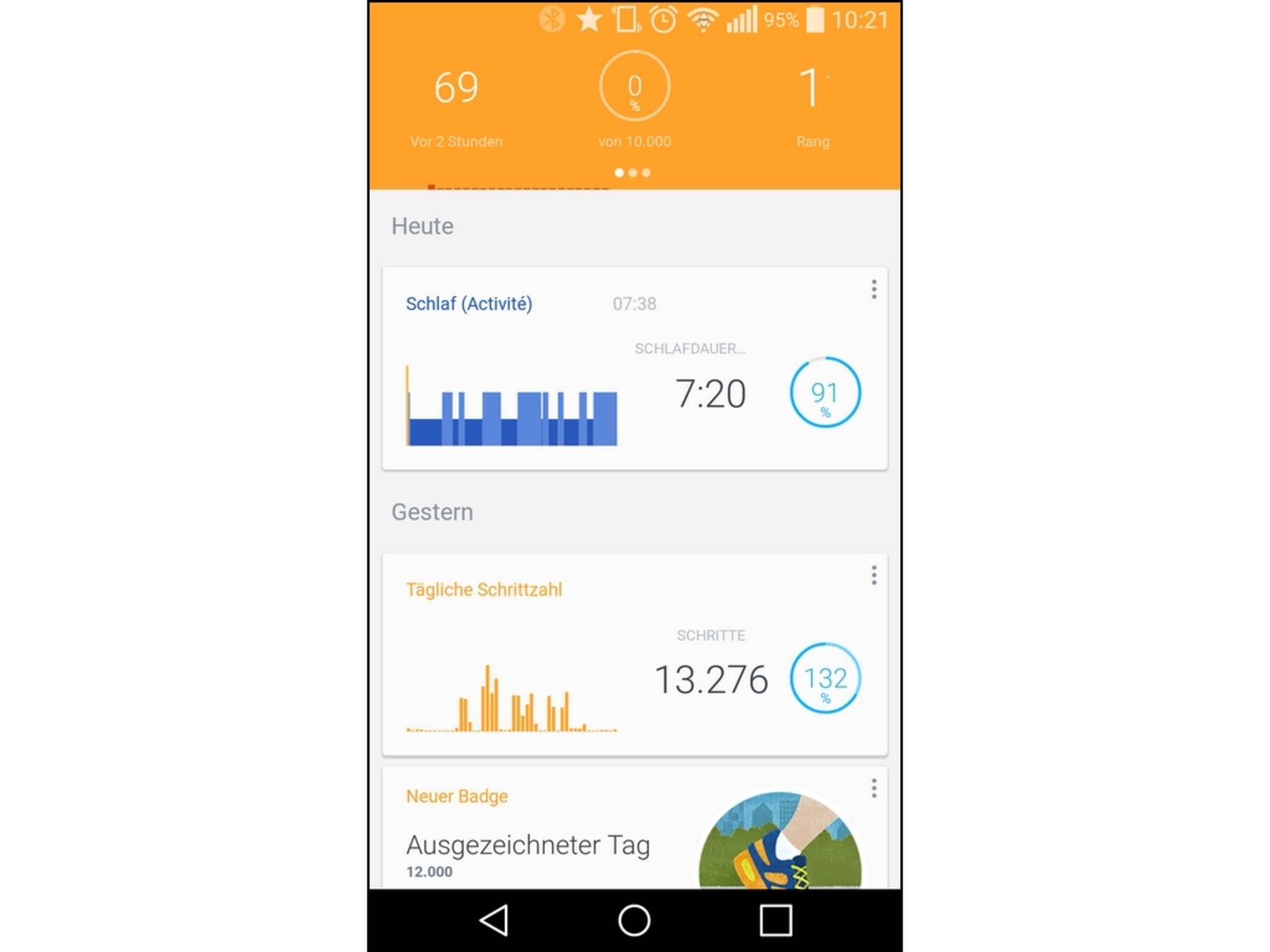 Die Hauptseite der App zeigt eine Timeline mit allen Aktivitäten.