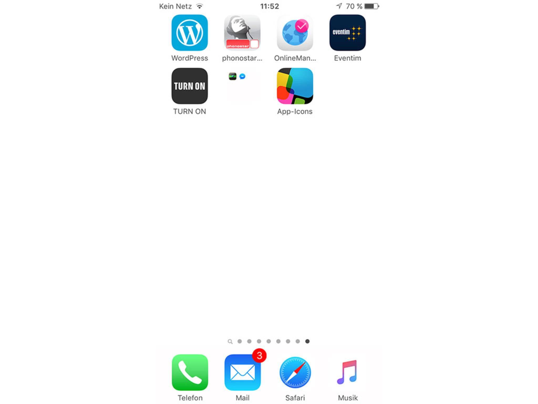 Der weiße Hintergrund verschmilzt mit dem Hintergrundbild von iOS.