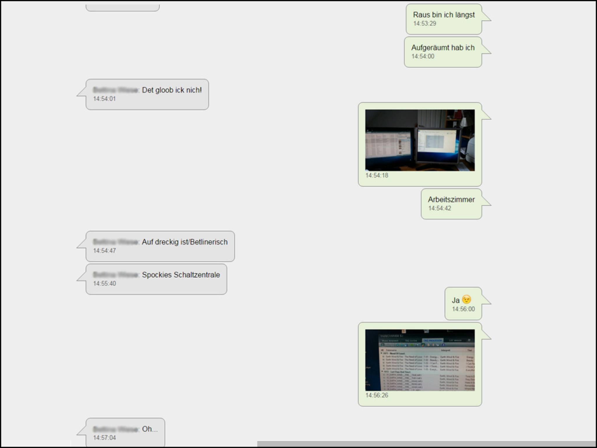 Der Chat kann im ursprünglichen Format gesichert werden ...
